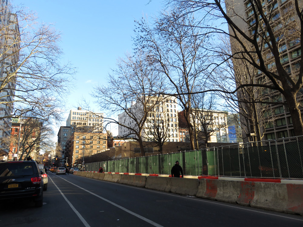 Current conditions. Looking southeast. The low-rise building in the background, the Jerome S. Coles Sports Center, will be redeveloped as part of the NYU Expansion Plan