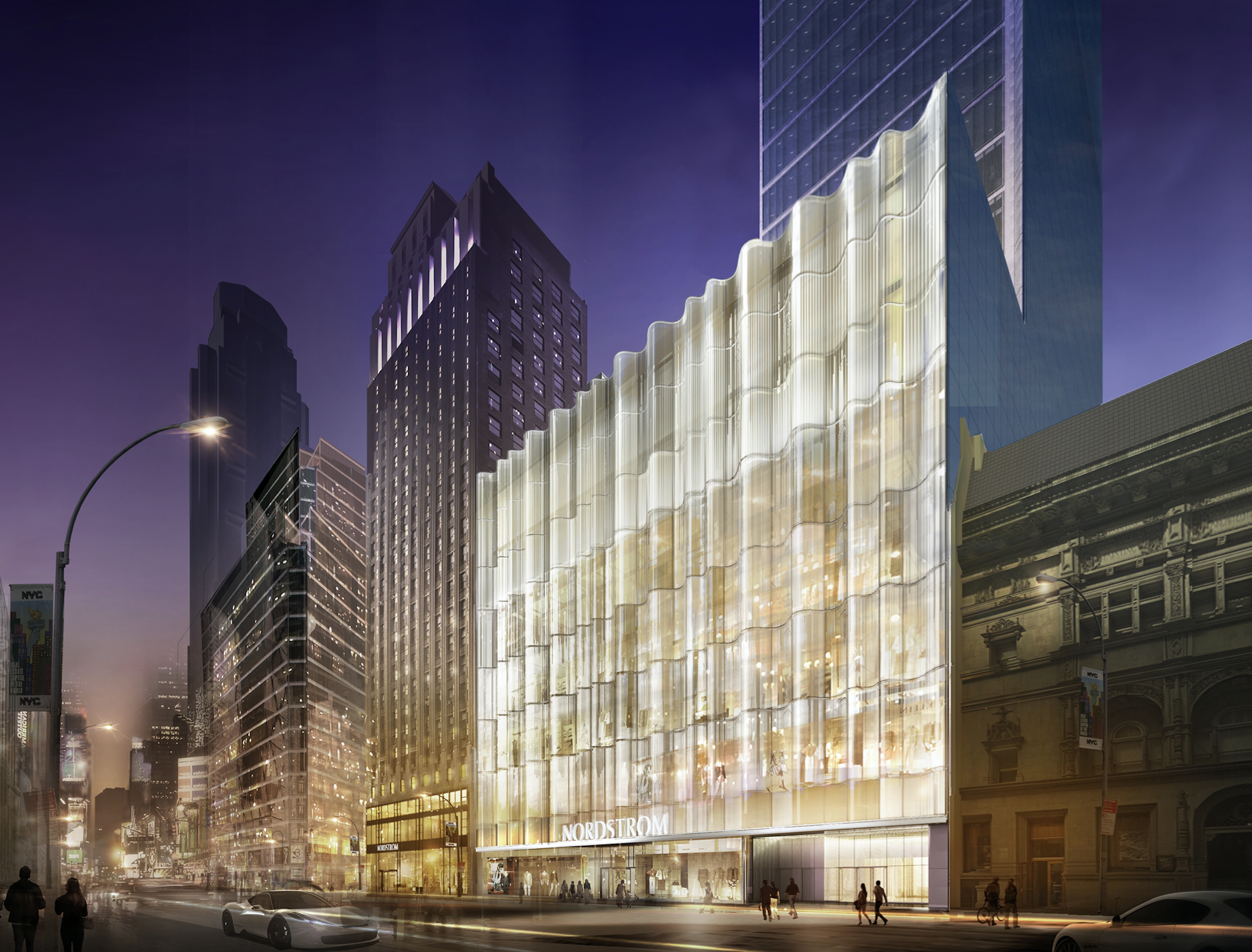 Nordstrom Manhattan Flagship W57th Glass Waveforms at Night, all rendering via Nordstrom