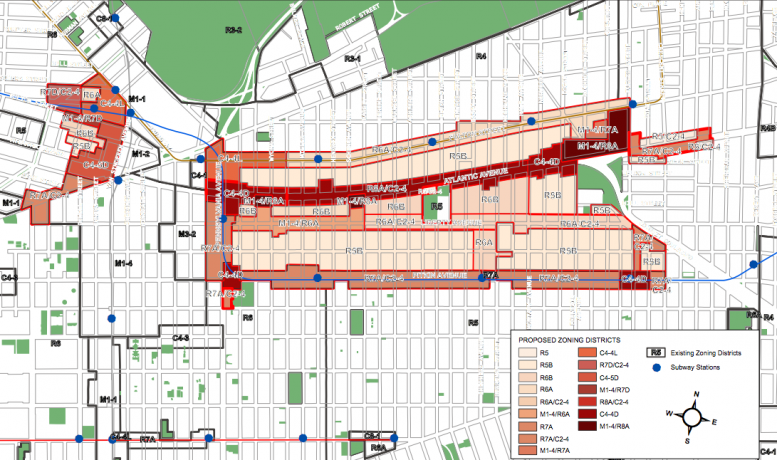 Map of the proposed East New York rezoning via Department of City Planning