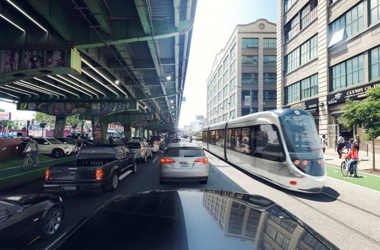 Rendering of the proposed Brooklyn-Queens streetcar, via Friends of the Brooklyn-Queens Connector