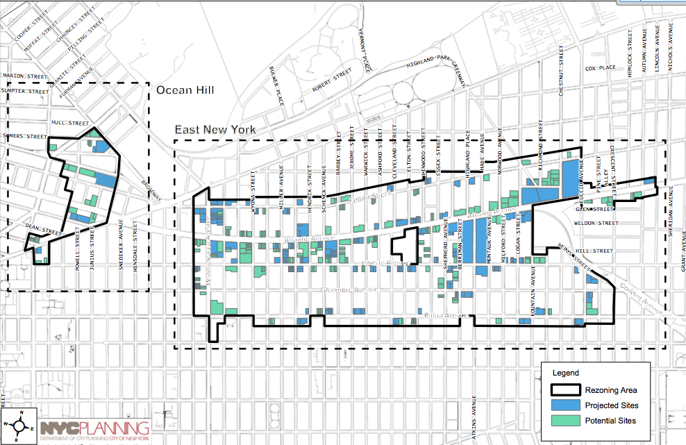 Potential development sites in East New York, image via DCP