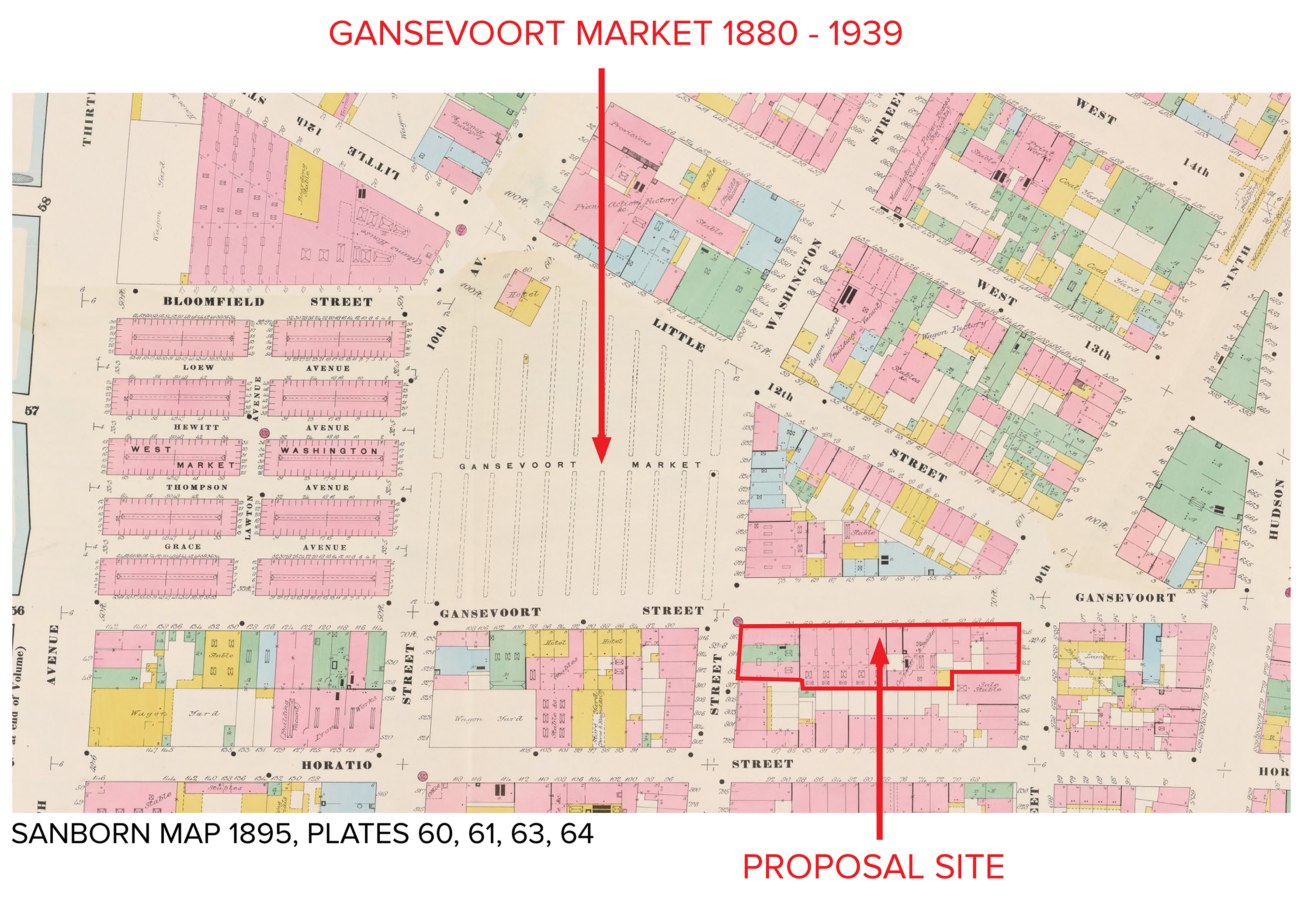Map showing the location of the Gansevoort Market in relation to the block of the proposed project. Via BKSK.