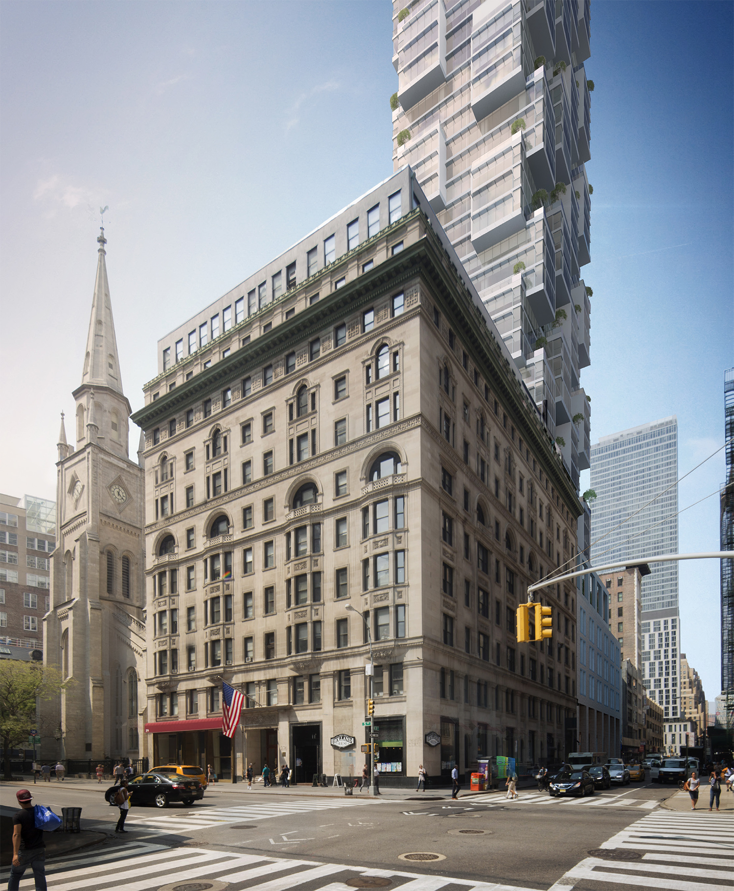 Rendering of the Moshe Safdie-designed tower as seen from the corner of Fifth Avenue and 30th Street.