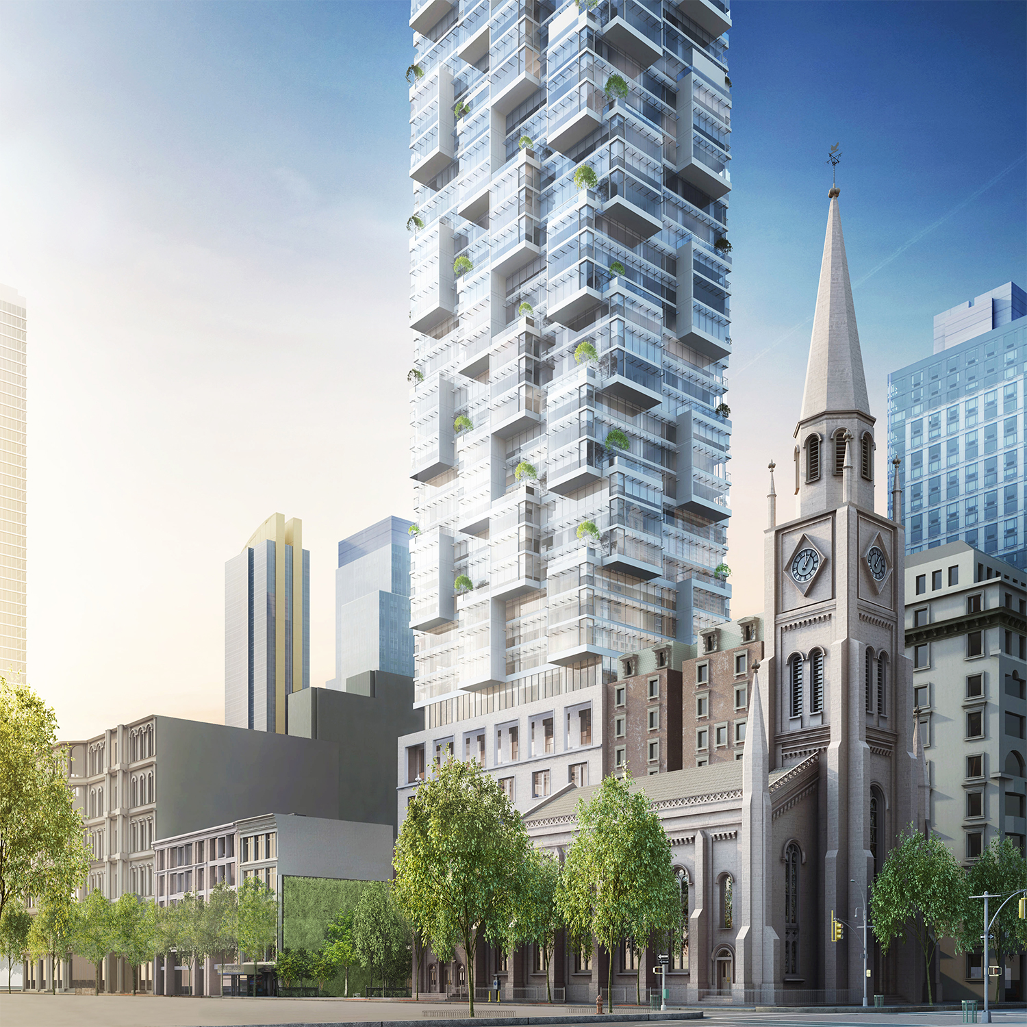Rendering of the Moshe Safdie-designed tower as seen from the corner of Fifth Avenue and 29th Street.