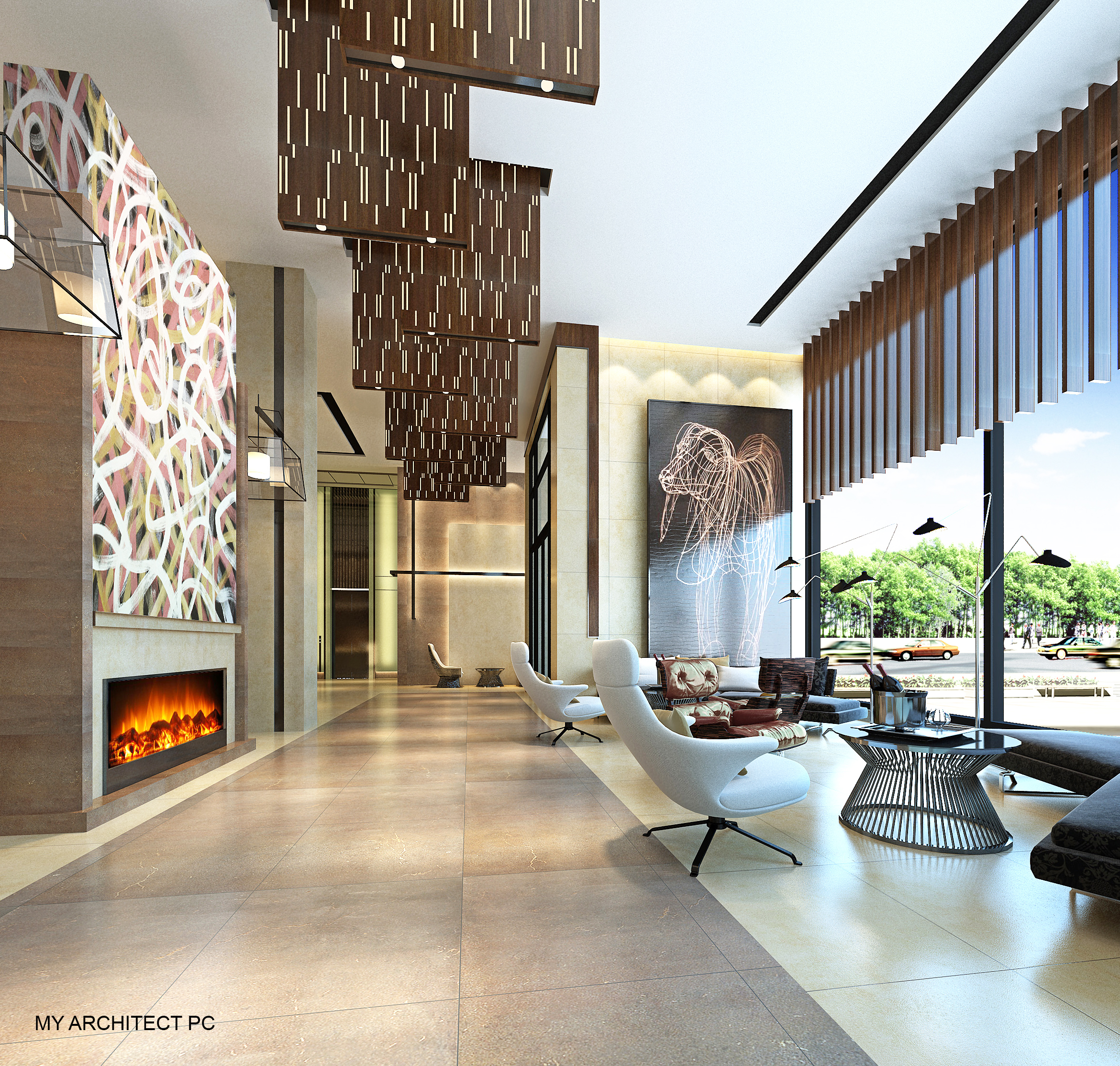 Lobby of 134-03 35th Avenue, rendering by My Architect