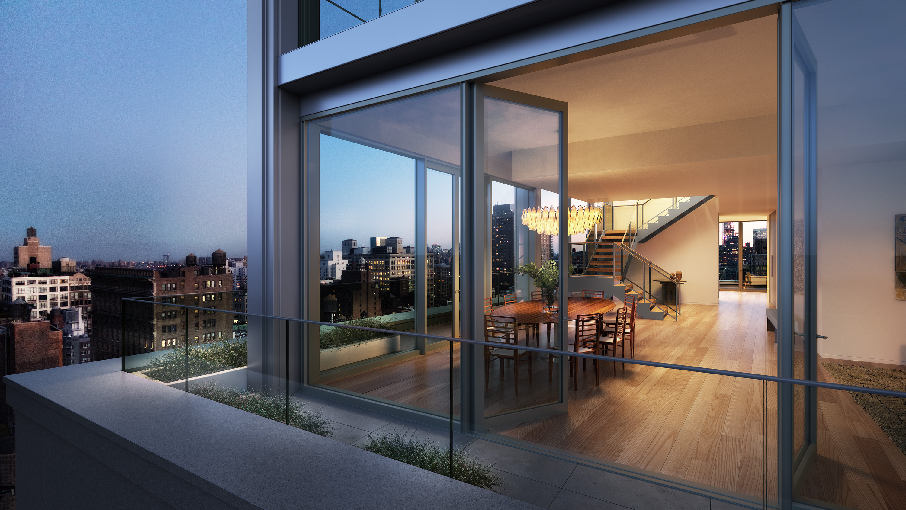 Penthouse at 21 East 12th Street, rendering by Wordsearch