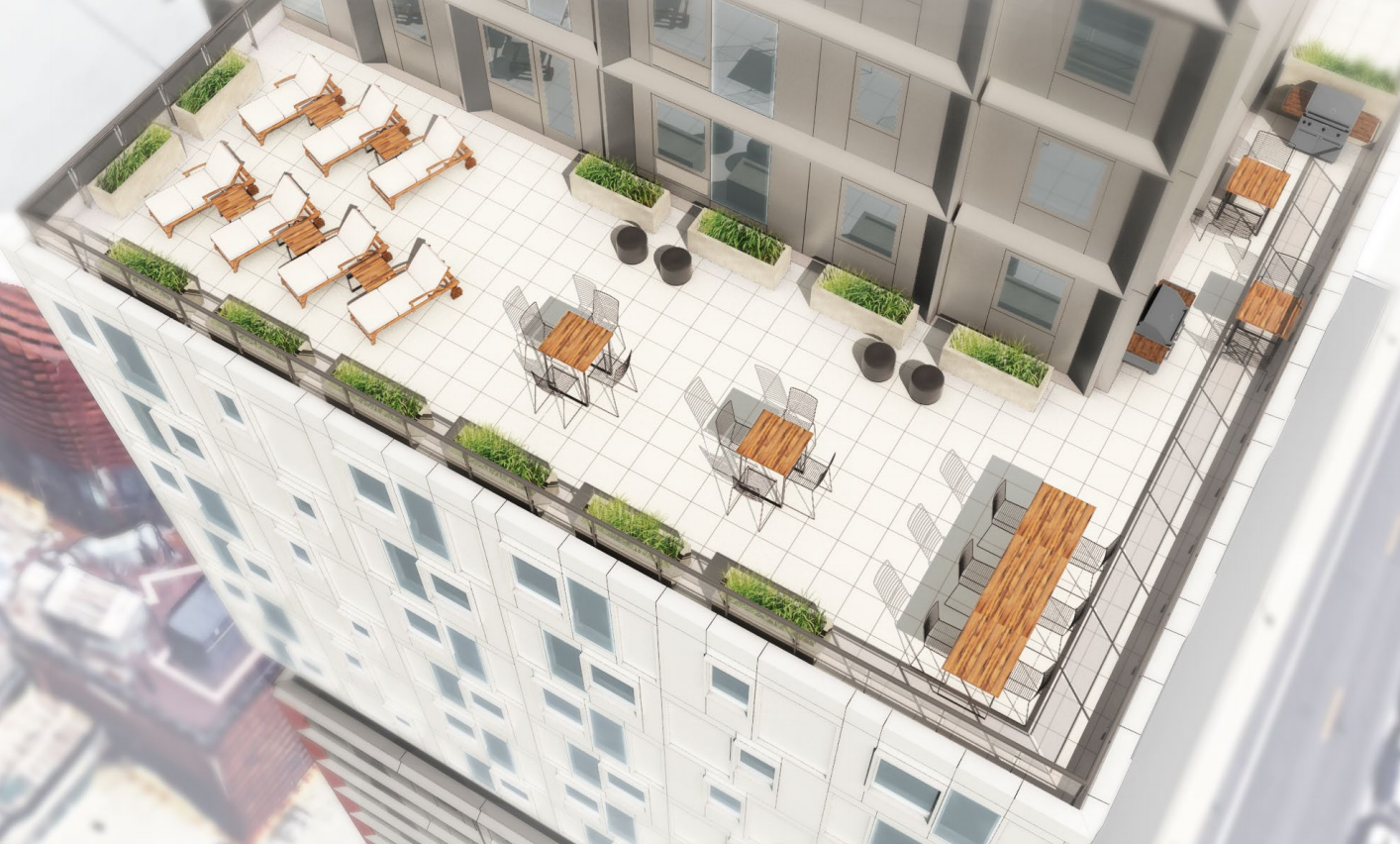 Roof deck at 38 Sixth Avenue, rendering by SHoP Architects