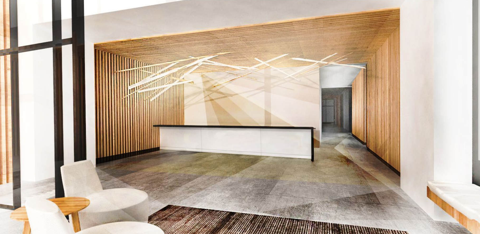 Lobby of 38 Sixth Avenue. rendering by SHoP Architects
