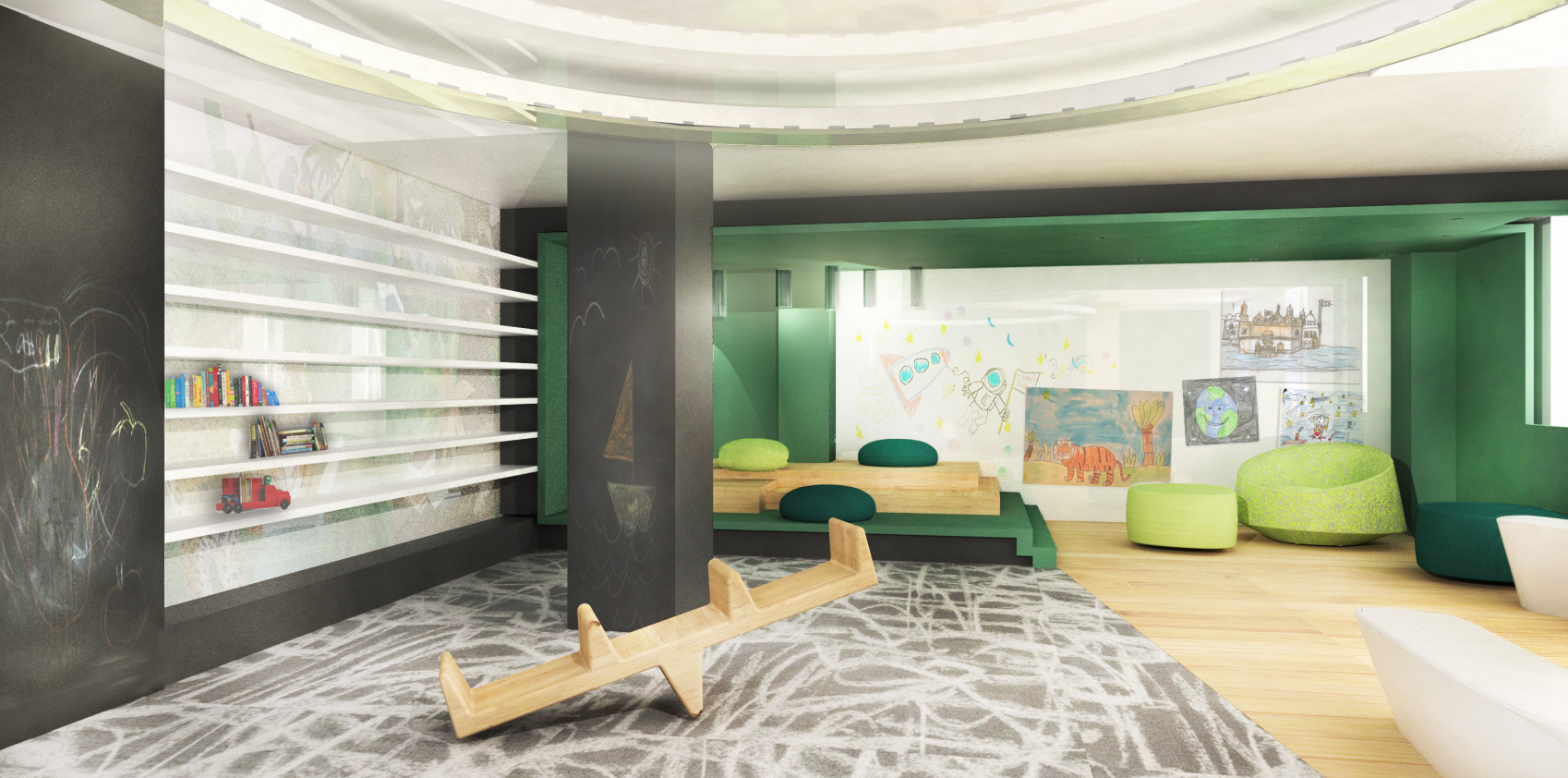 Playroom at 38 Sixth Avenue, rendering by SHoP Architects