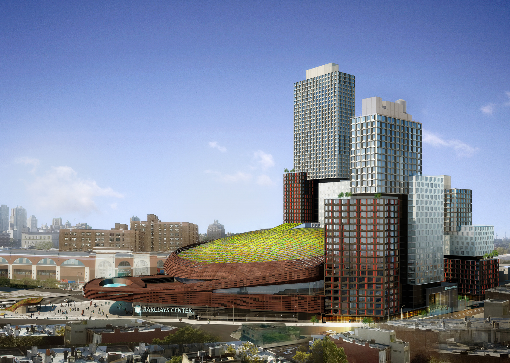 38 Sixth Avenue and the Barlcays Center, rendering by SHoP Architects