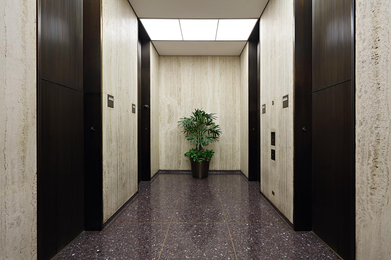 41 Madison Avenue elevator bank, existing condition. Via Rudin Management.