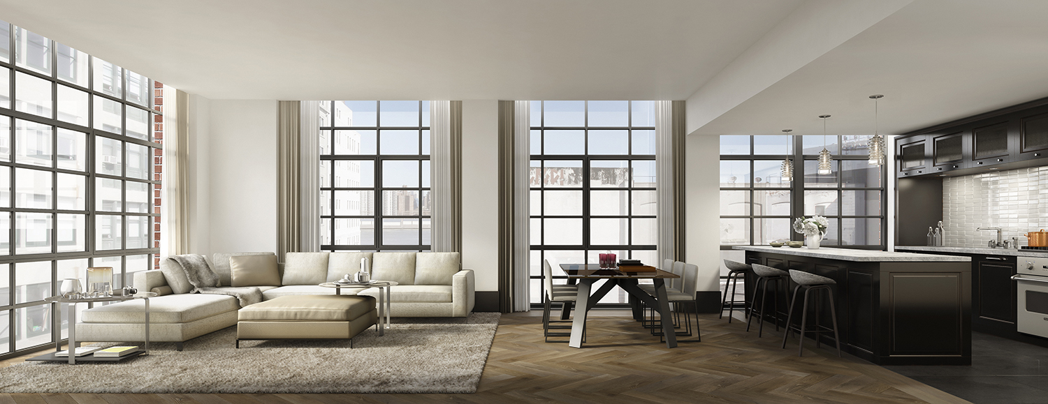 Rendering Of A Kitchen And Living/dining Room At 51 Jay Street.
