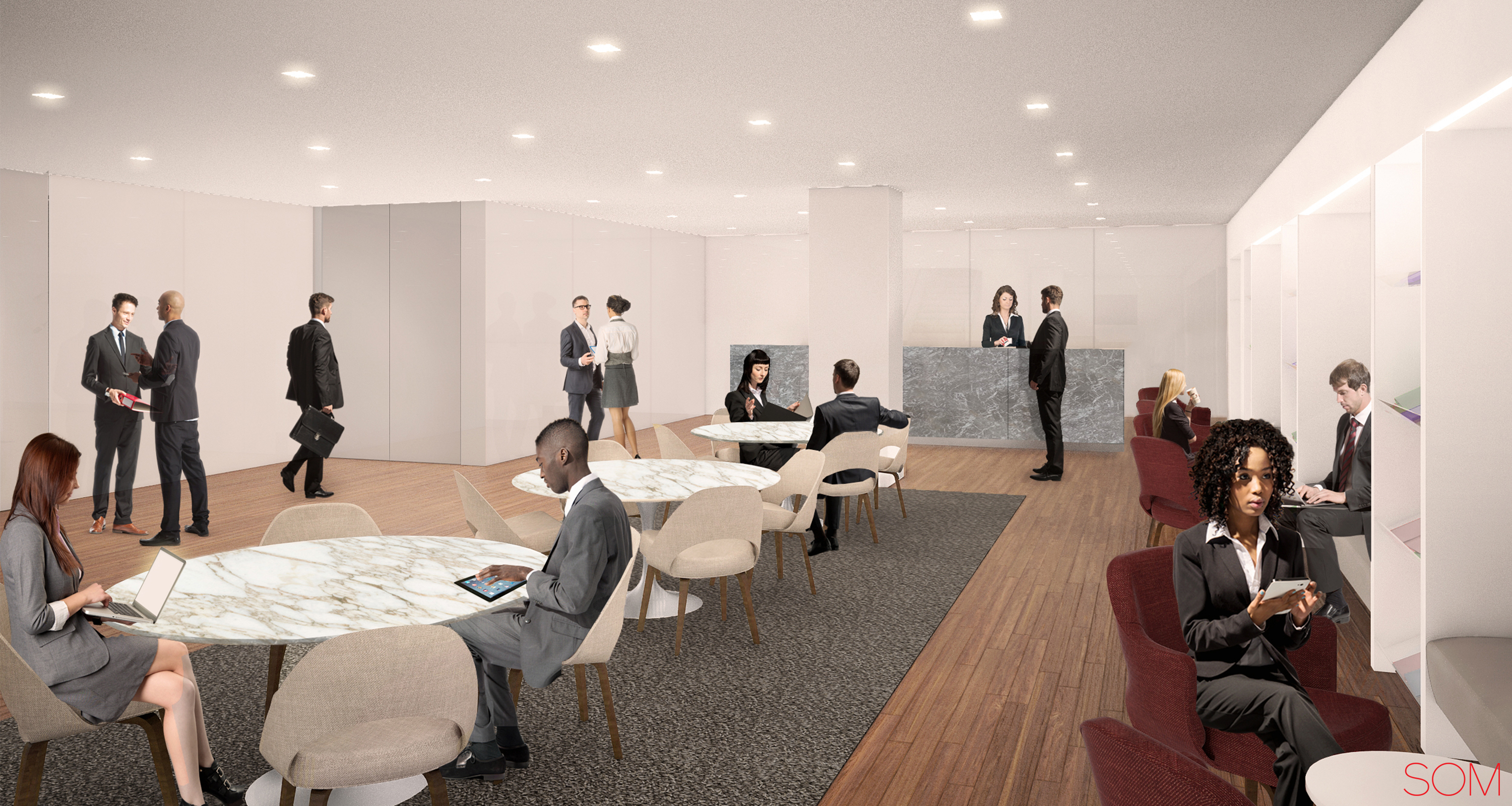 Rendering of buyers lounge at 41 Madison Avenue. Credit: SOM/Rudin.