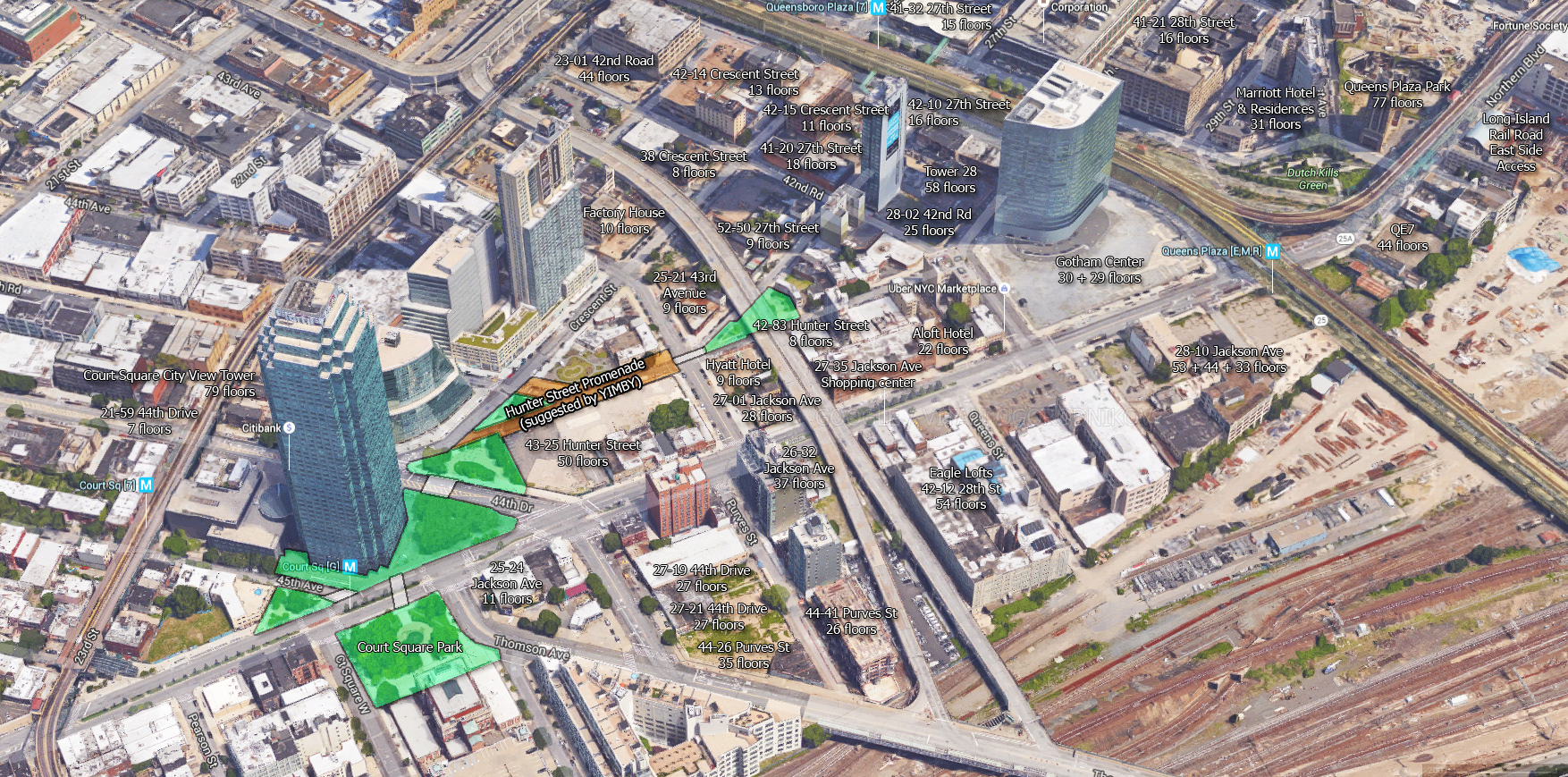 Our suggested street alterations would create a unified green space in the center of the dense district. Text indicates ongoing projects. Original image source: Google