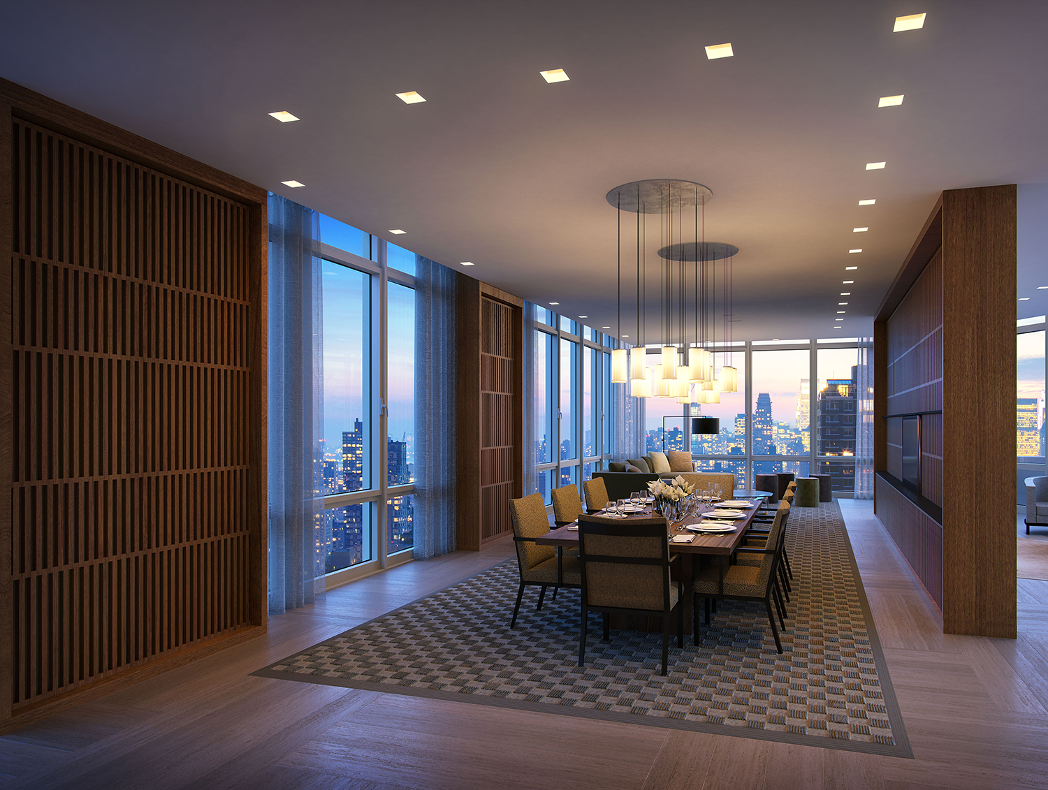 Rendering of 39th floor dining room at the Easton. Credit: Moso Studio