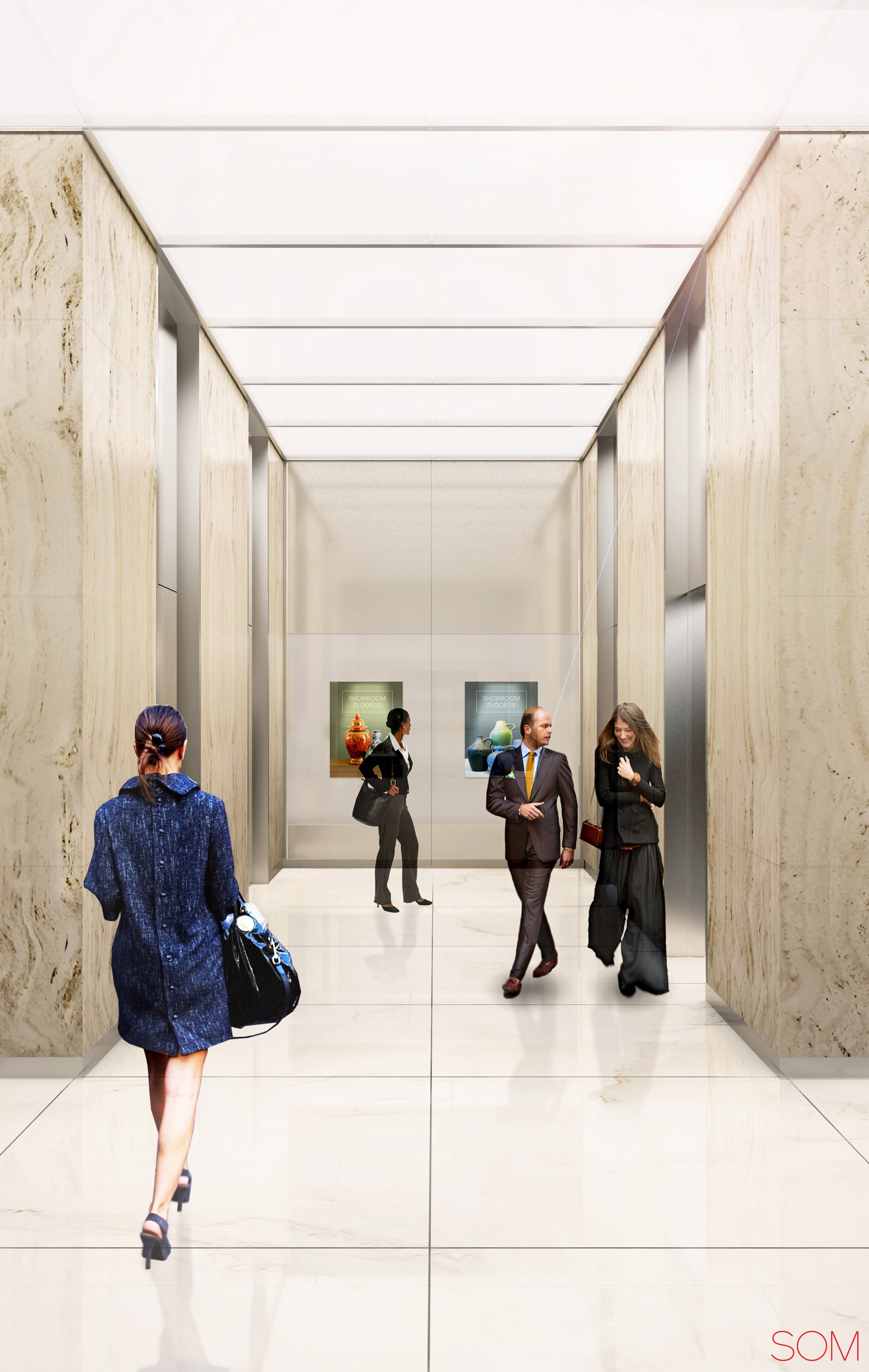 Rendering of new elevator corridor at 41 Madison Avenue. Credit: Rudin/SOM.