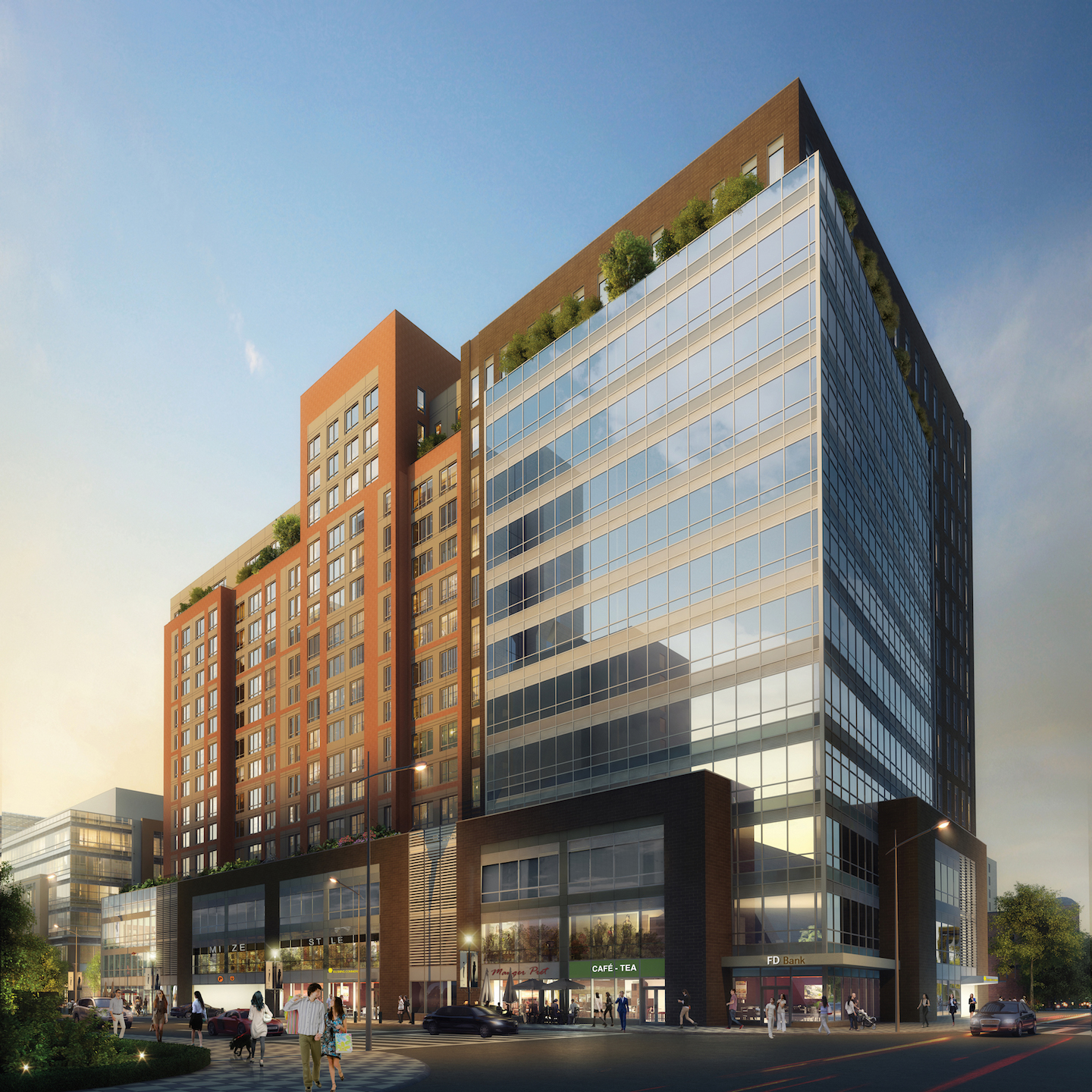 Rendering of 38-18 Union Street, an office building at Flushing Commons. Credit: Conway + Partners