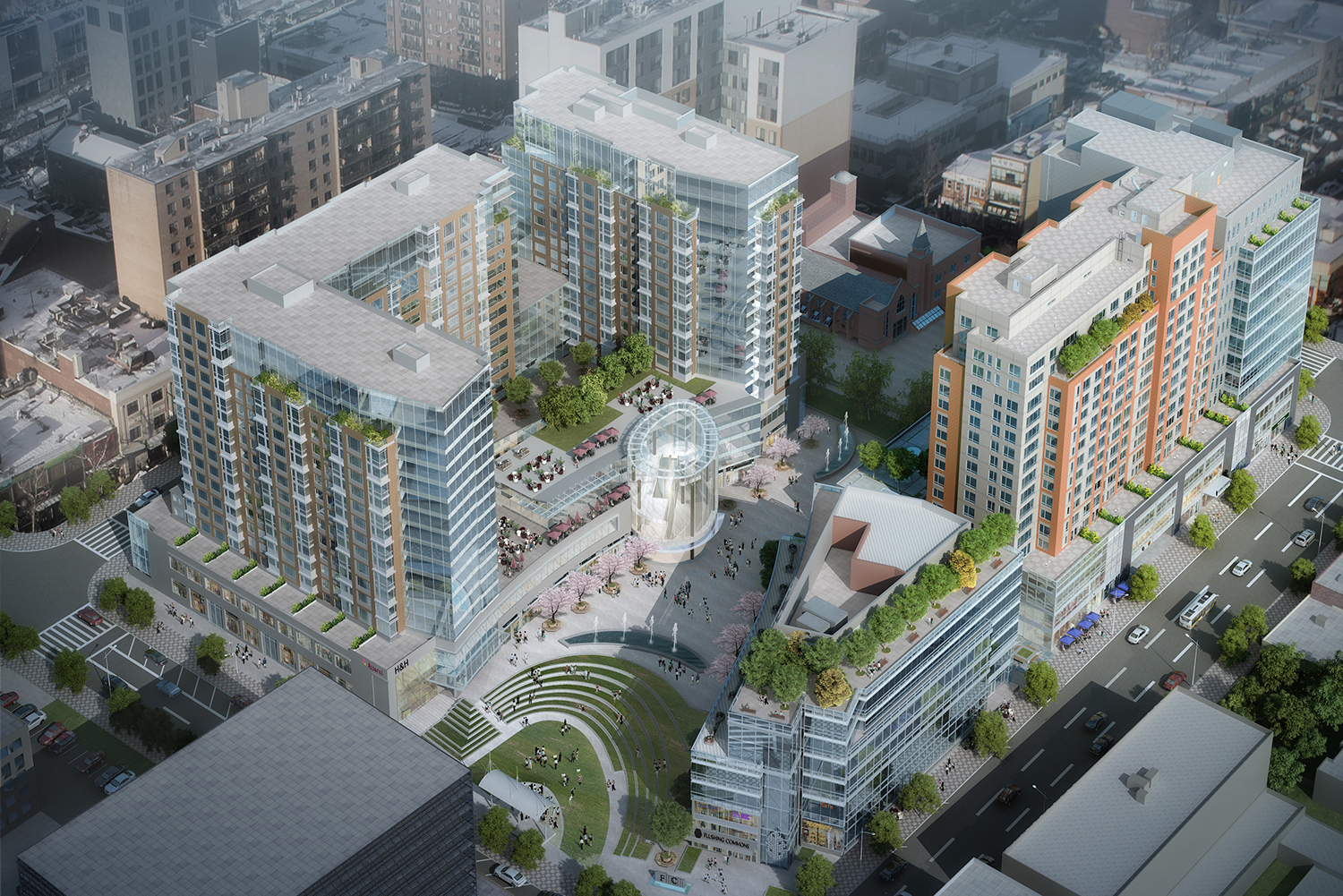 Rendering of Flushing Commons. Credit: Conway + Partners