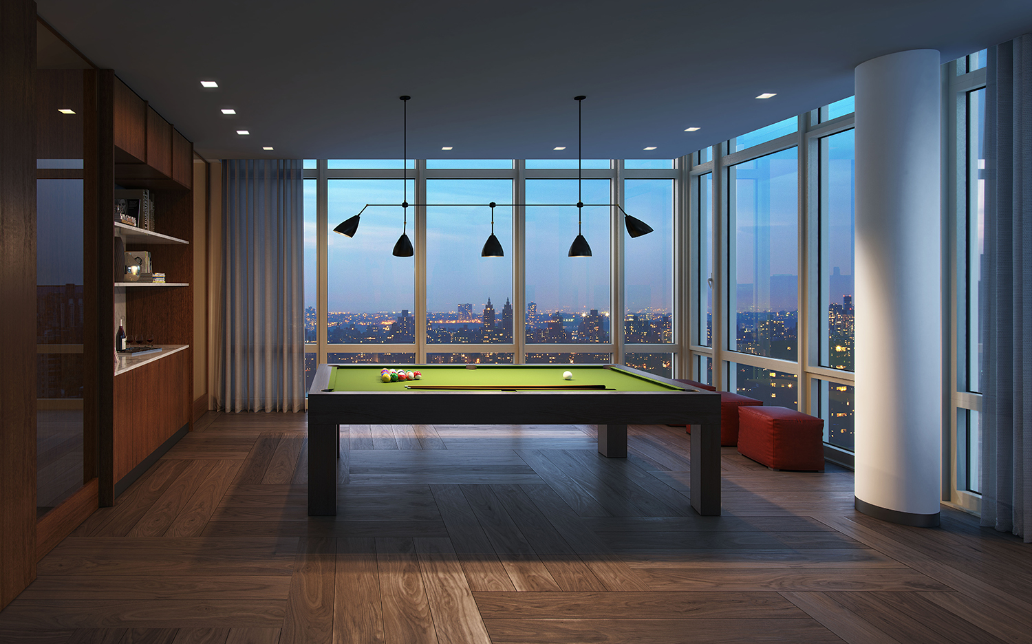 Rendering of 39th floor game room at the Easton. Credit: Moso Studio