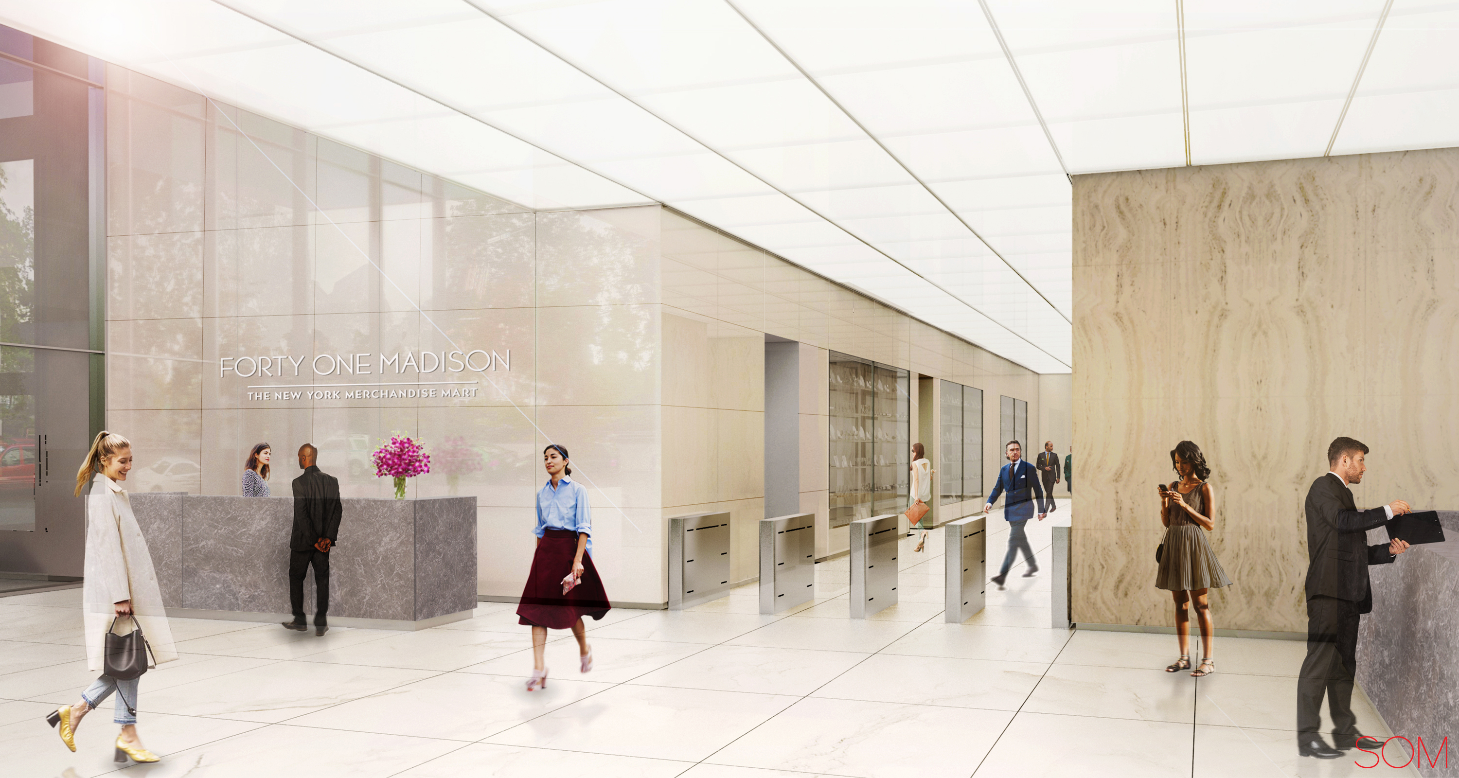 Rendering of lobby hallway at 41 Madison Avenue. Credit: Rudin/SOM.