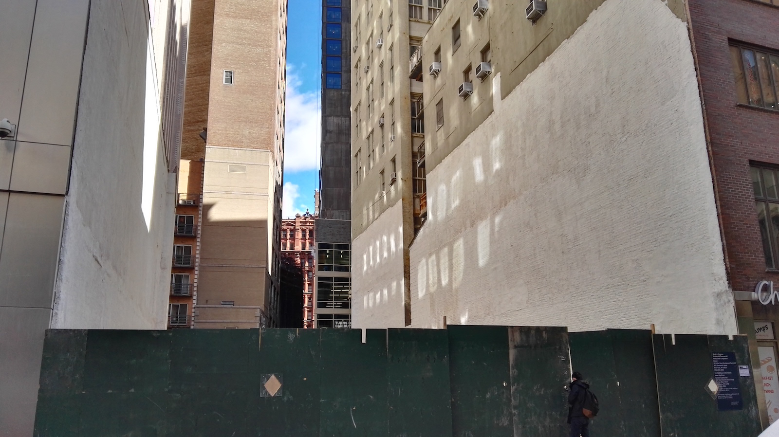 143 Fulton Street construction site, Fulton Street side. Photo courtesy YIMBY reader Rich Brome.