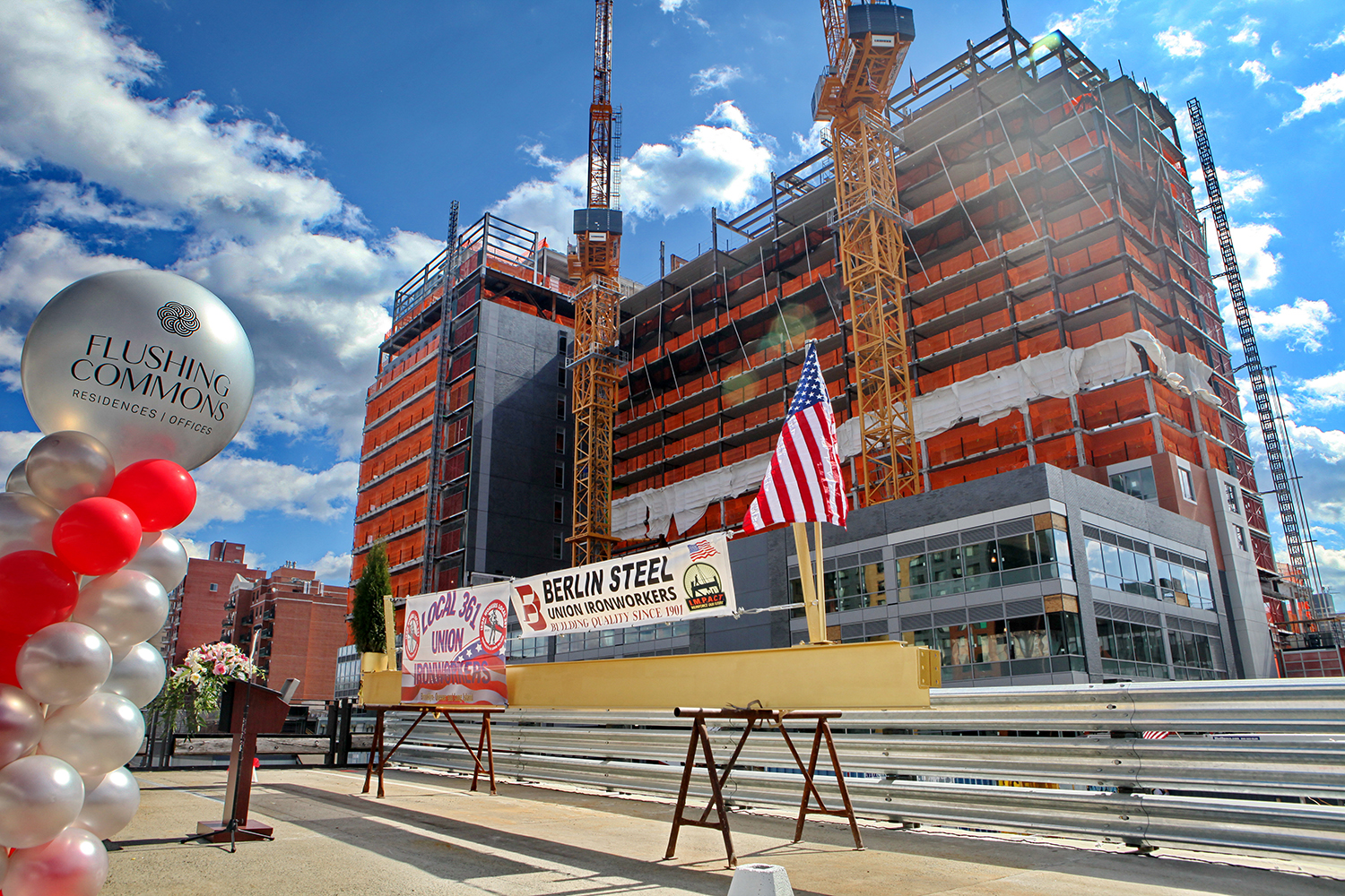 Topping out day at 138-35 39th Avenue and 38-18 Union Street at Flushing Commons. Credit: F&T Group