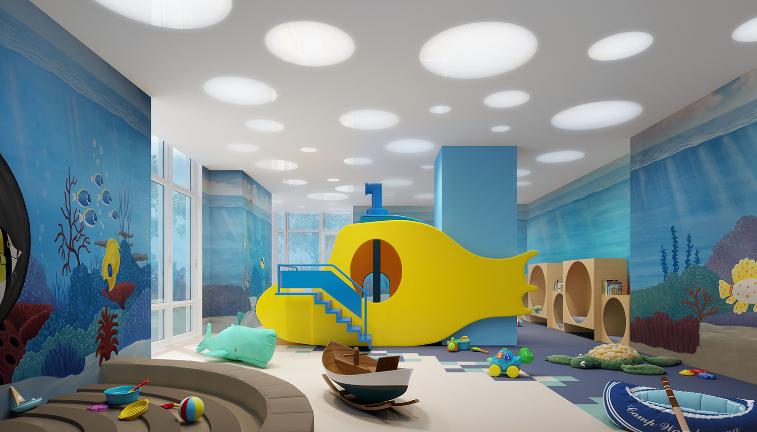Rendering of the kids room at the Easton. Credit: Moso Studio.