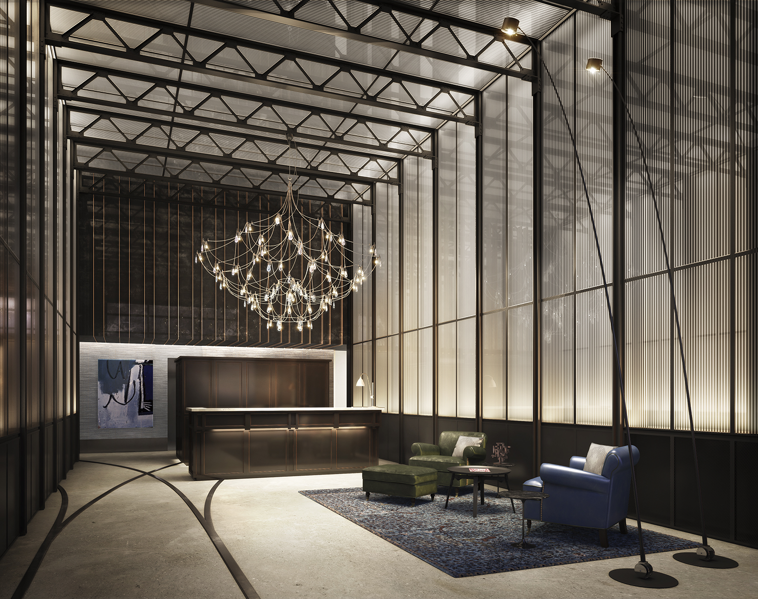 Rendering of the lobby at 51 Jay Street