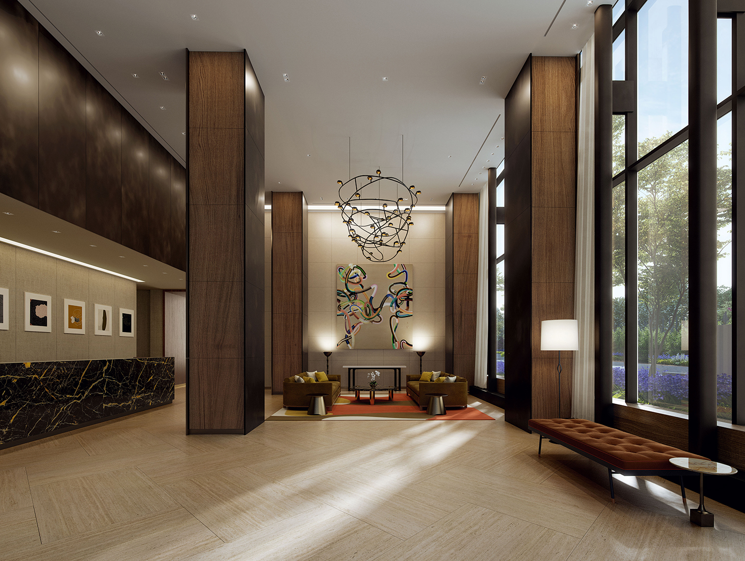 Rendering of the lobby at the Easton. Credit: Moso Studio