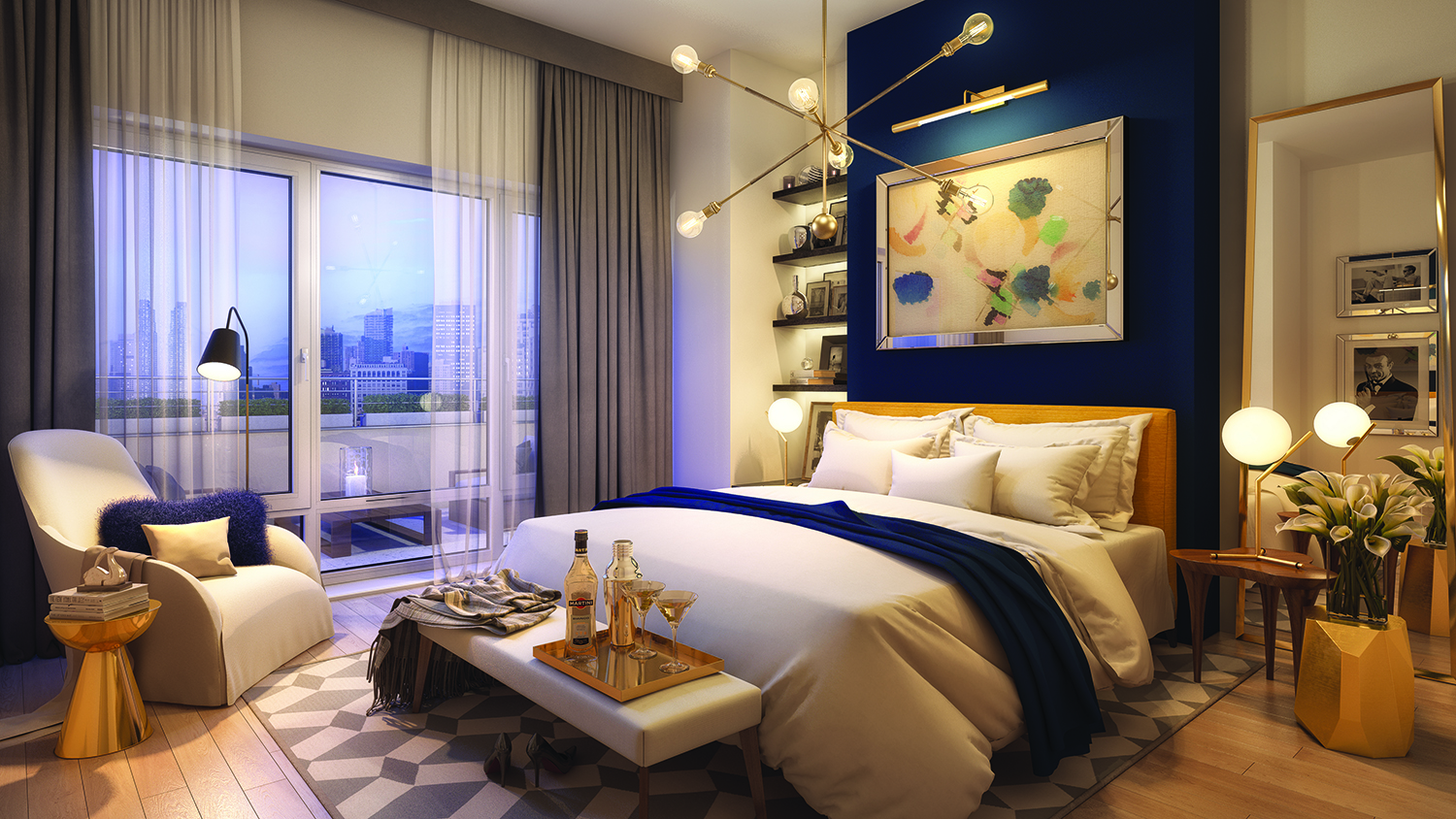 Rendering of a penthouse bedroom at 138-35 39th Avenue at Flushing Commons. Credit: Flushing Commons