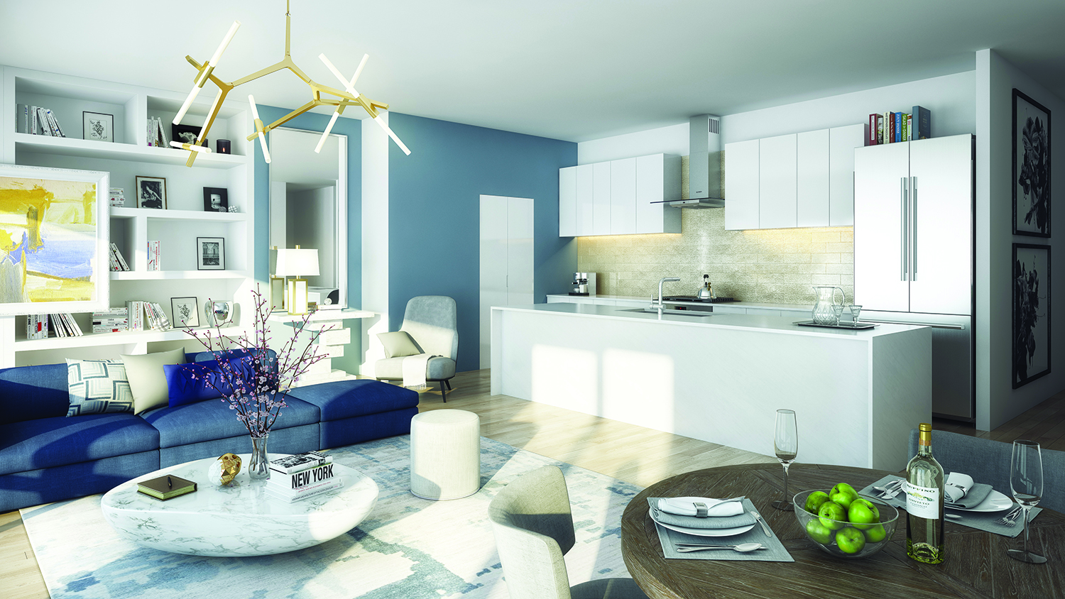 Rendering of a penthouse kitchen and living room at 138-35 39th Avenue at Flushing Commons. Credit: Flushing Commons