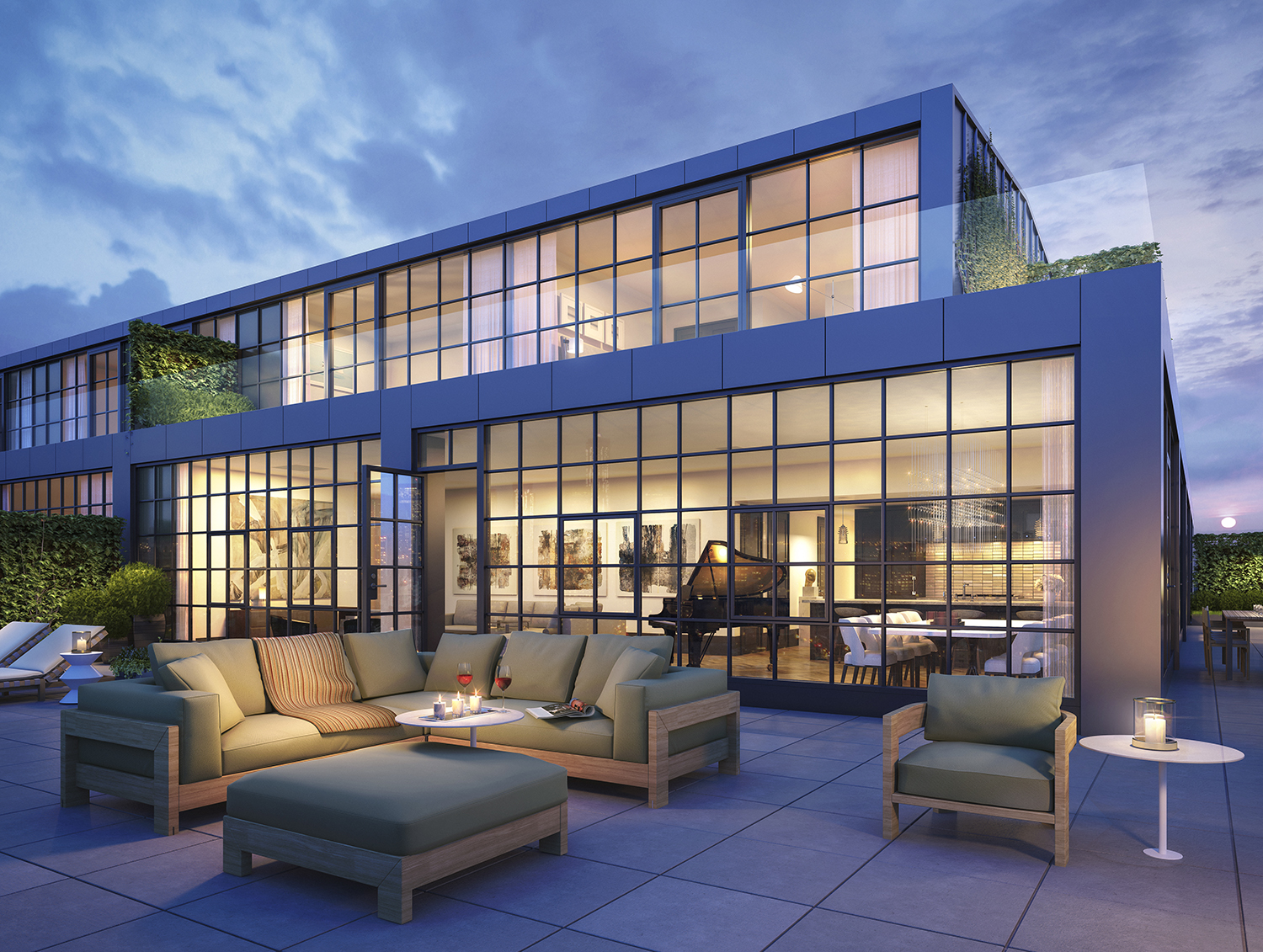 Rendering of lower portion penthouse terrace (sixth floor) at 51 Jay Street