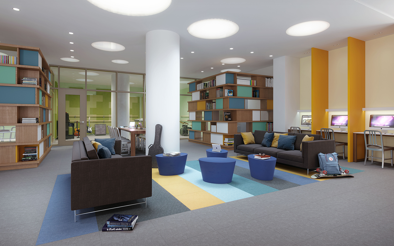 Rendering of the teen room at the Easton. Credit; Moso Studio.
