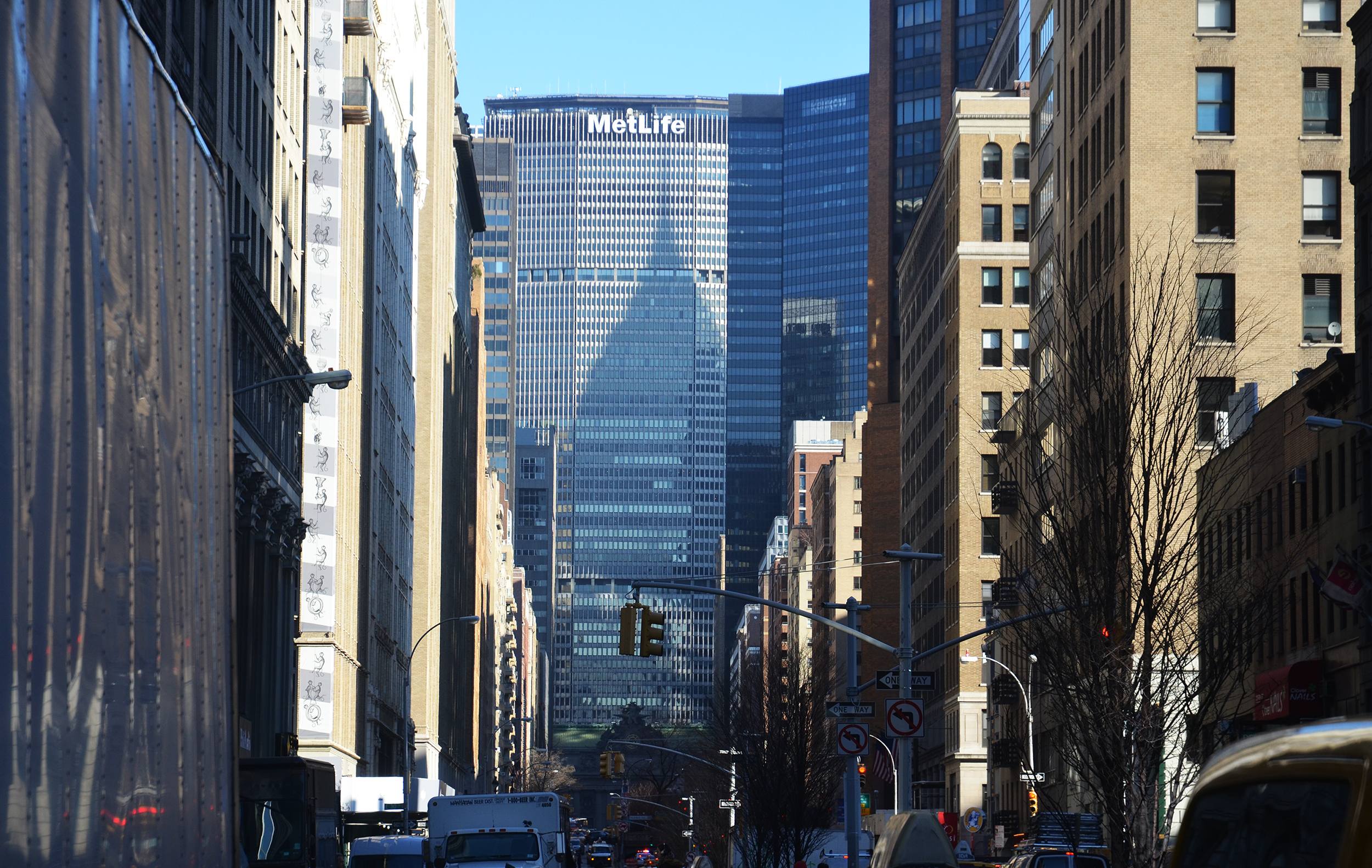 The MetLife Building with the shadow of the Chrysler Building. Photo by Evan Bindelglass.