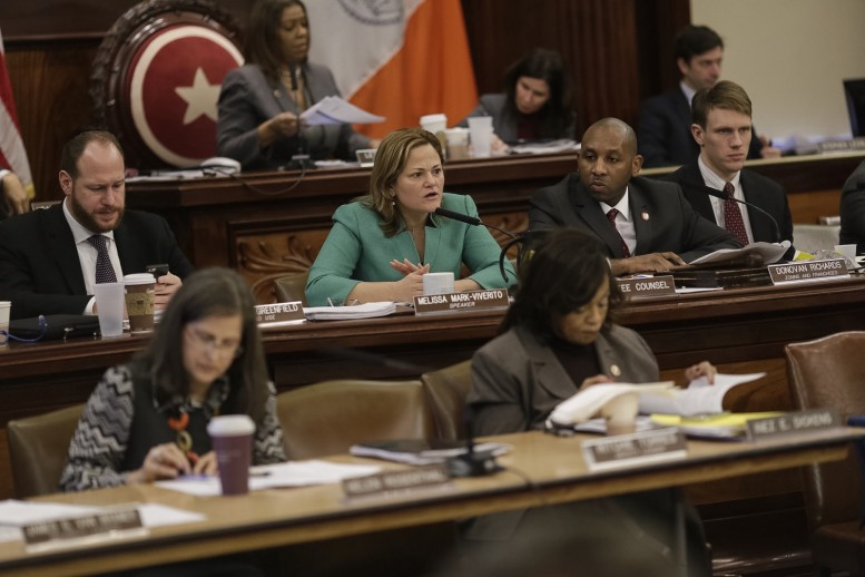 Melissa Mark-Viverito speaks during a hearing on Mandatory Inclusionary Housing last month. photo by William Alatriste for the City Council
