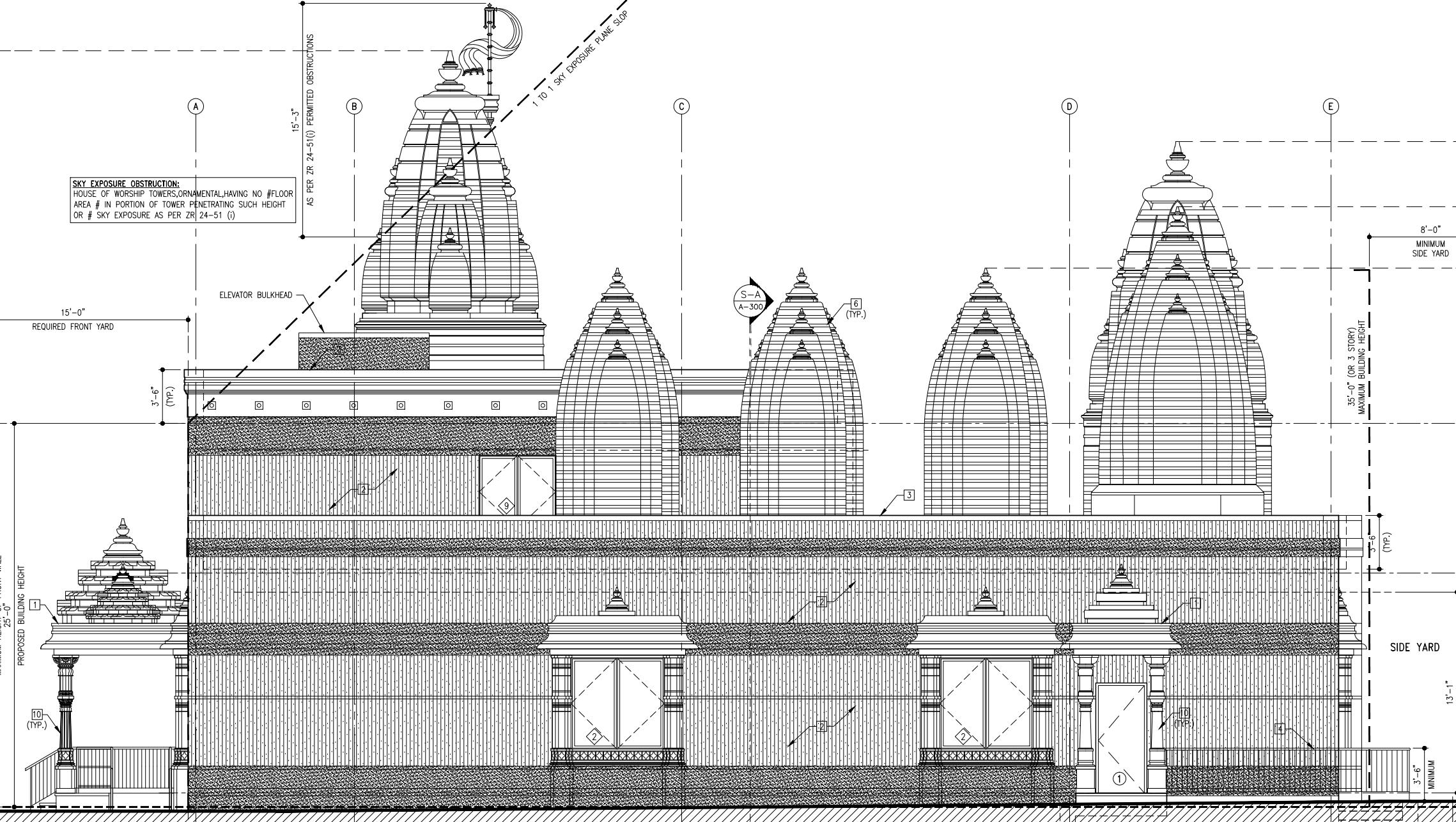 West side of 264-12 Hillside Avenue, drawing by Manish Savani Architect