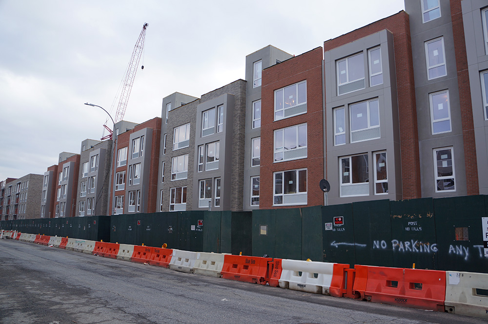 Townhouse-style walkups coming along on the north side of Prospect Place