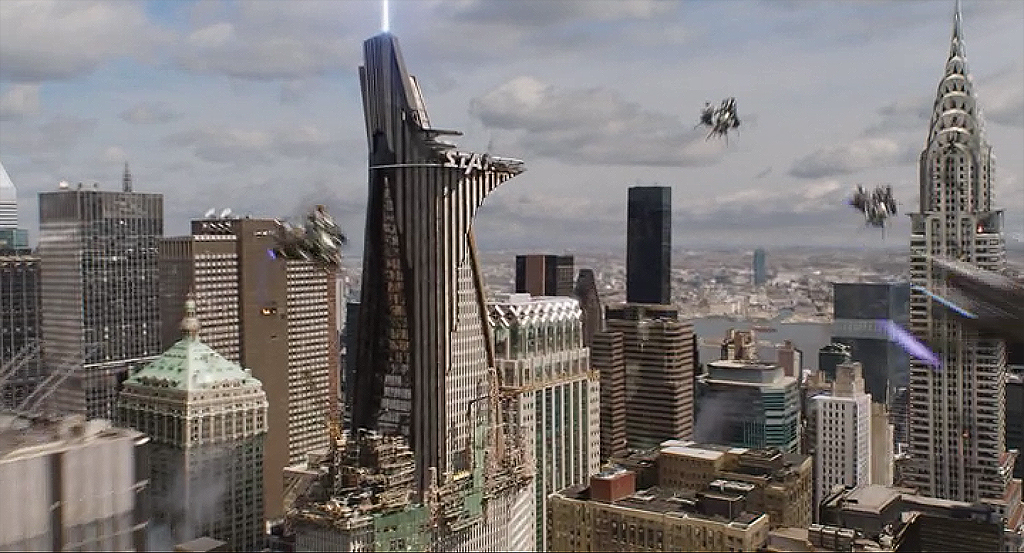 "Stark Tower during the Battle of New York in ""The Avengers"""