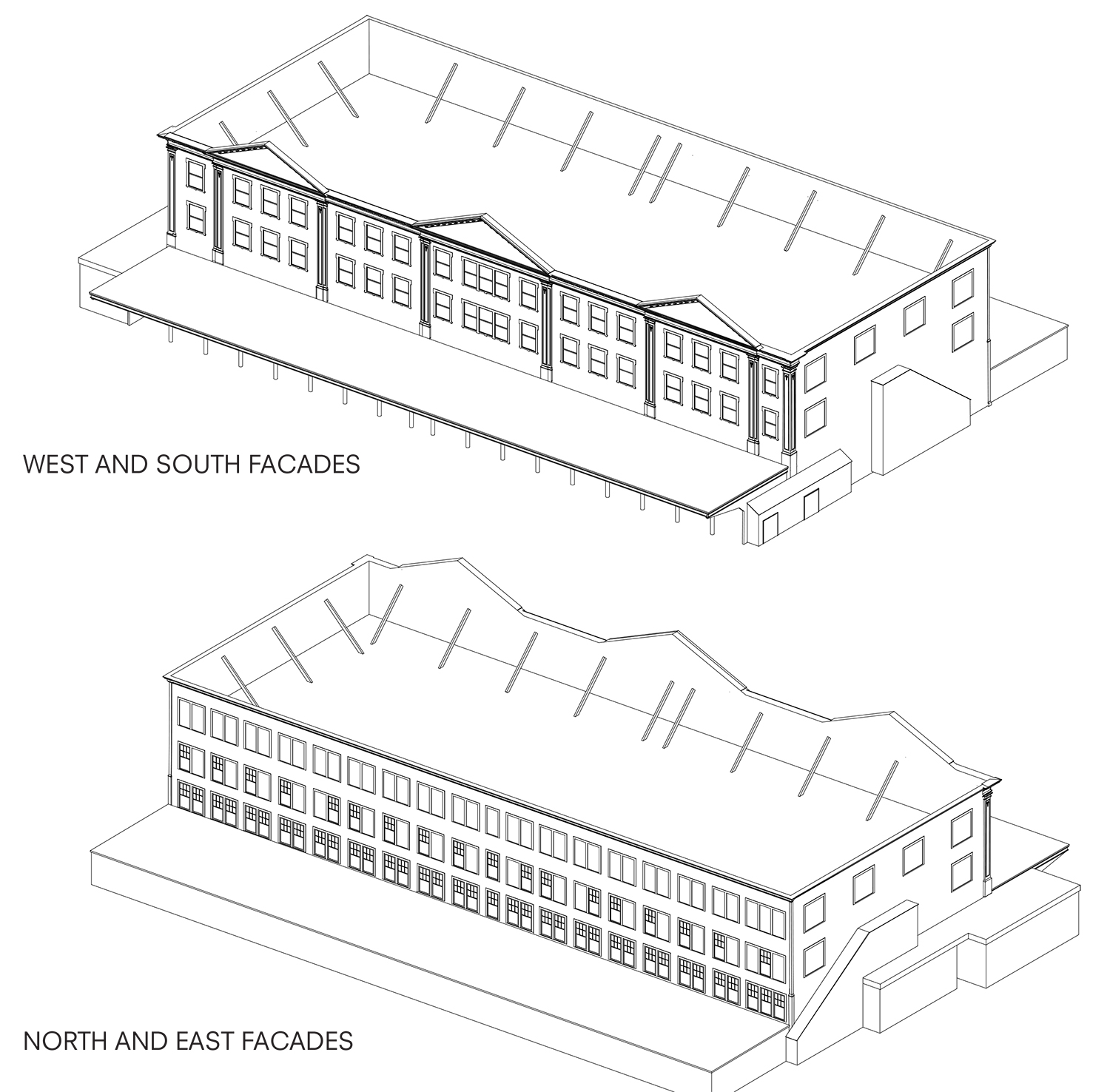 Diagram showing the post-fire reconstruction of the Tin Building.