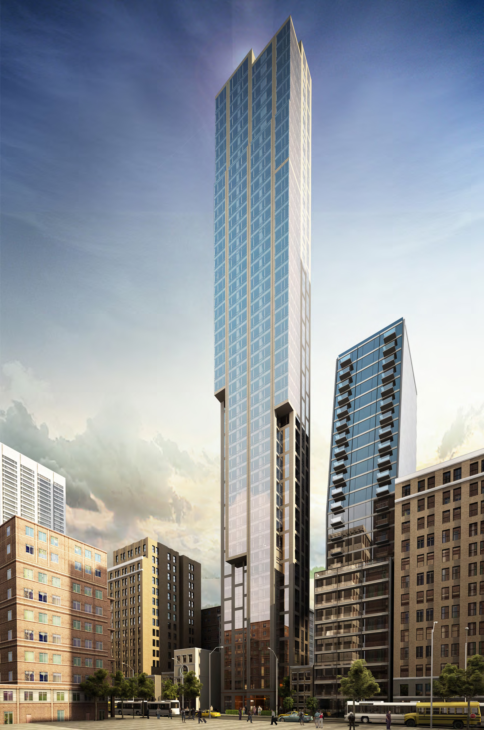 Rendering of 131 East 47th Street, southeast perspective. Credit: SLCE Architects