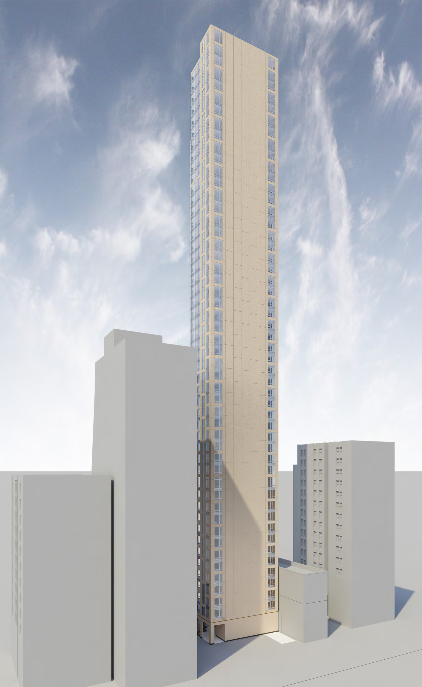 Study of 131 East 47th Street, northeast perspective. Credit: SLCE Architects