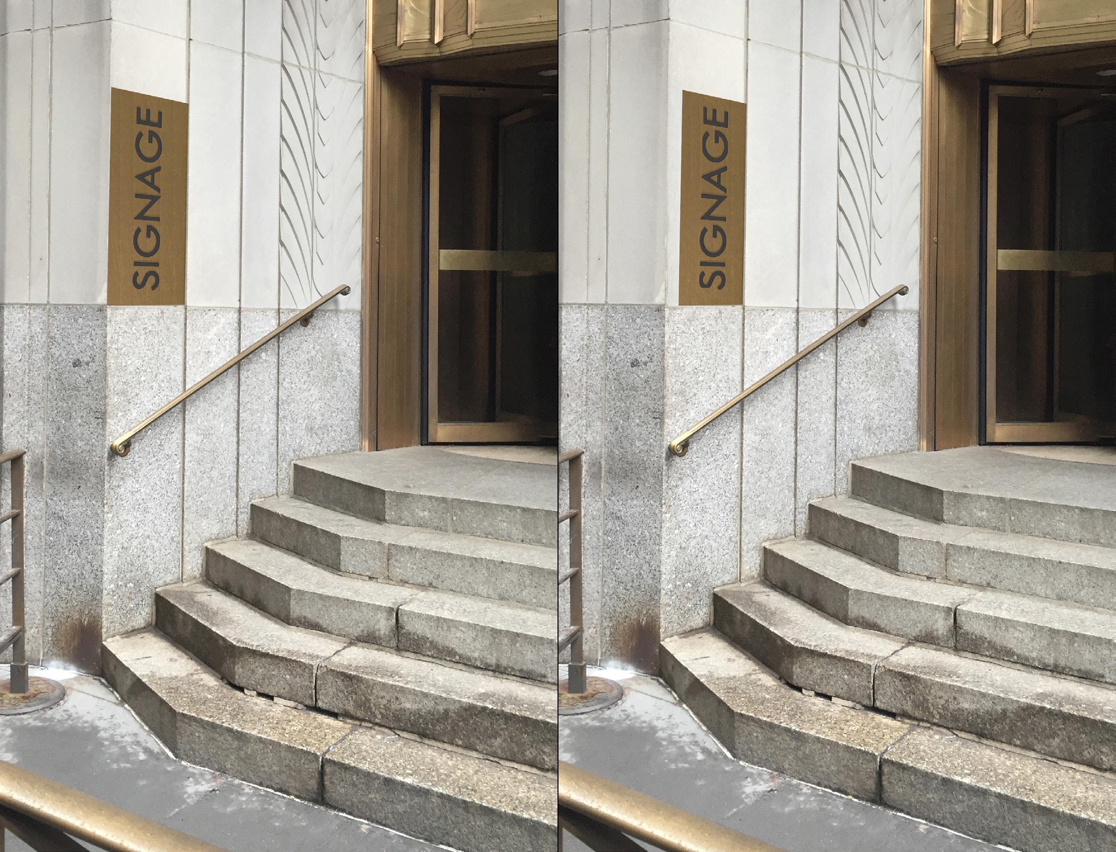 Plaques proposed for Wall Street entrance to 1 Wall Street, January (left) and April (right)