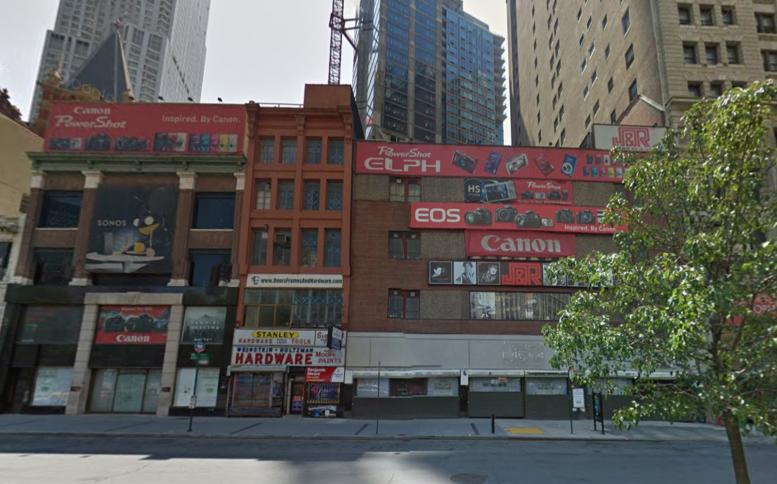 23-32 Park Row in 2015, before demolition. image via Google Maps