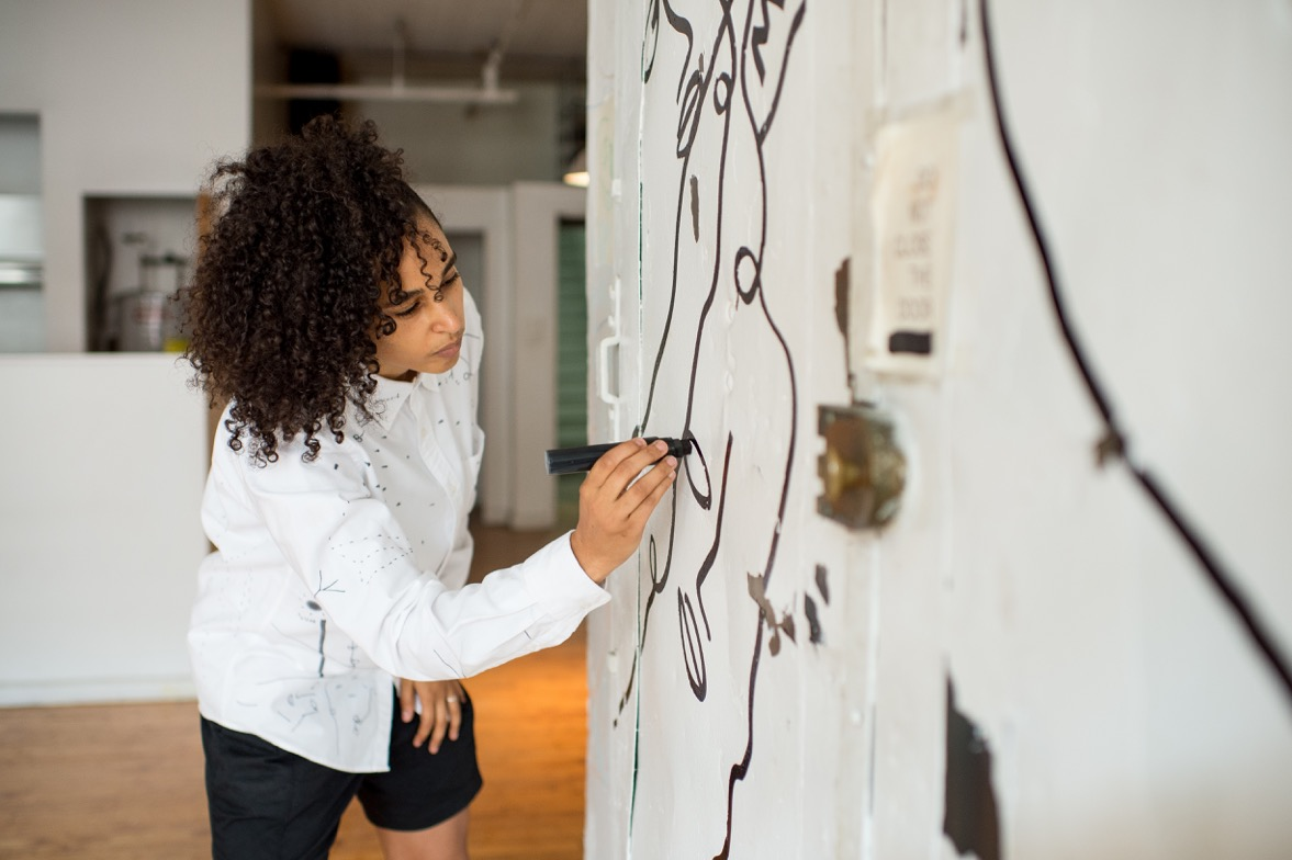Shantell Martin at work. Credit: Roy Rochlin