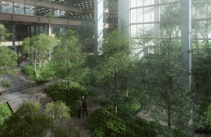 Rendering of the Ford Foundation atrium, 320 East 43rd Street