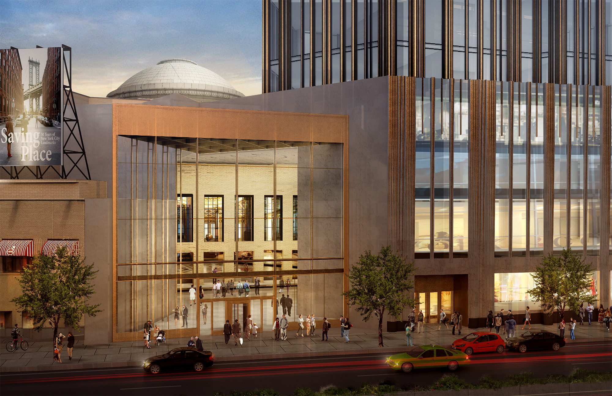 Rendering of 340 Flatbush Avenue Extension, showing the atrium that would connect to the banking hall at 9 DeKalb Avenue. Credit: SHoP