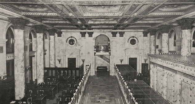 Historic photo of the banking hall at 346 Broadway