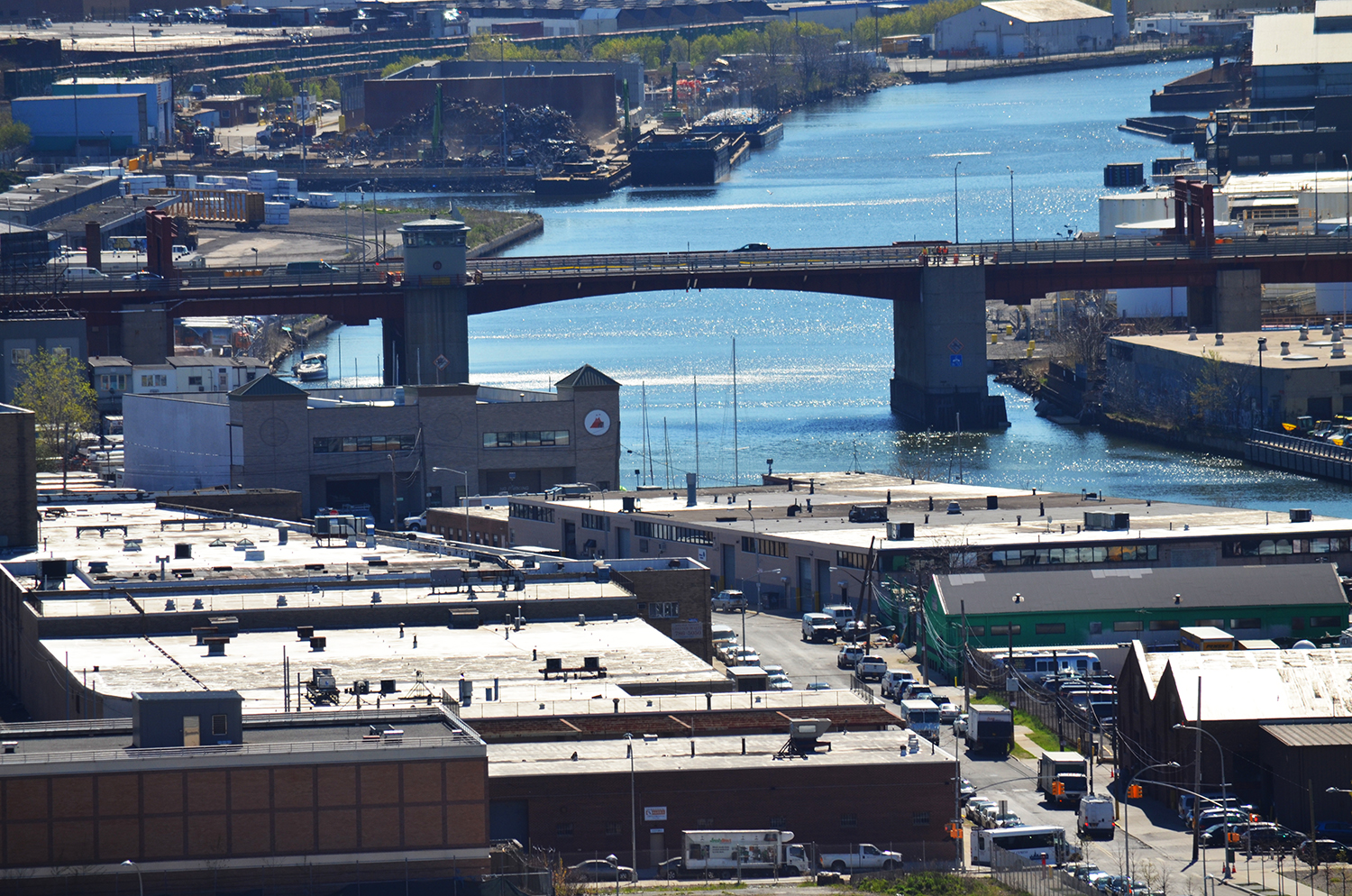 View of the Pulaski Bridge and Newtown Creek from the skybridge at the American Copper Buildings