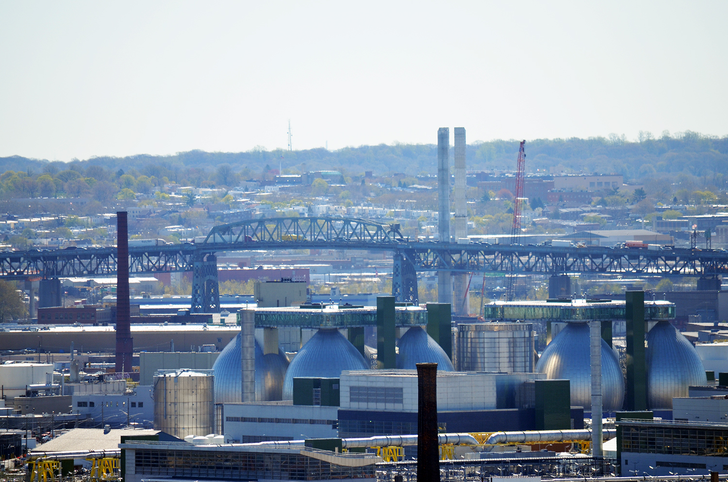 View of the current Kosciuszko Bridge and its replacement, seen from the skybridge at the American Copper Buildings