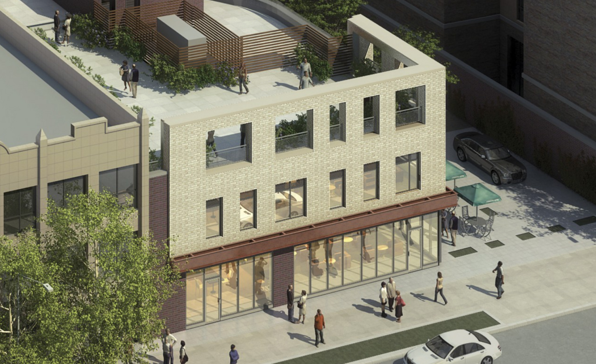Rendering of 626 Flatbush Avenue, showing third floor terrace. Credit: Marvel Architects
